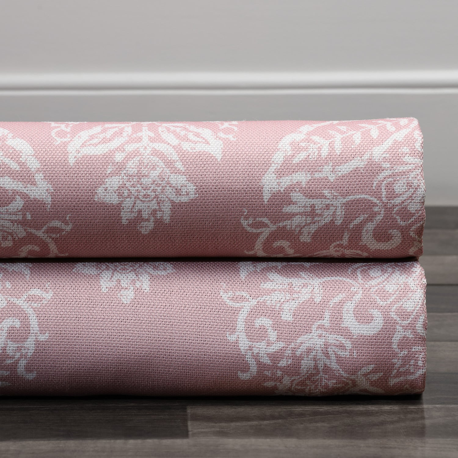Istanbul Pink Printed Linen Textured Blackout Swatch