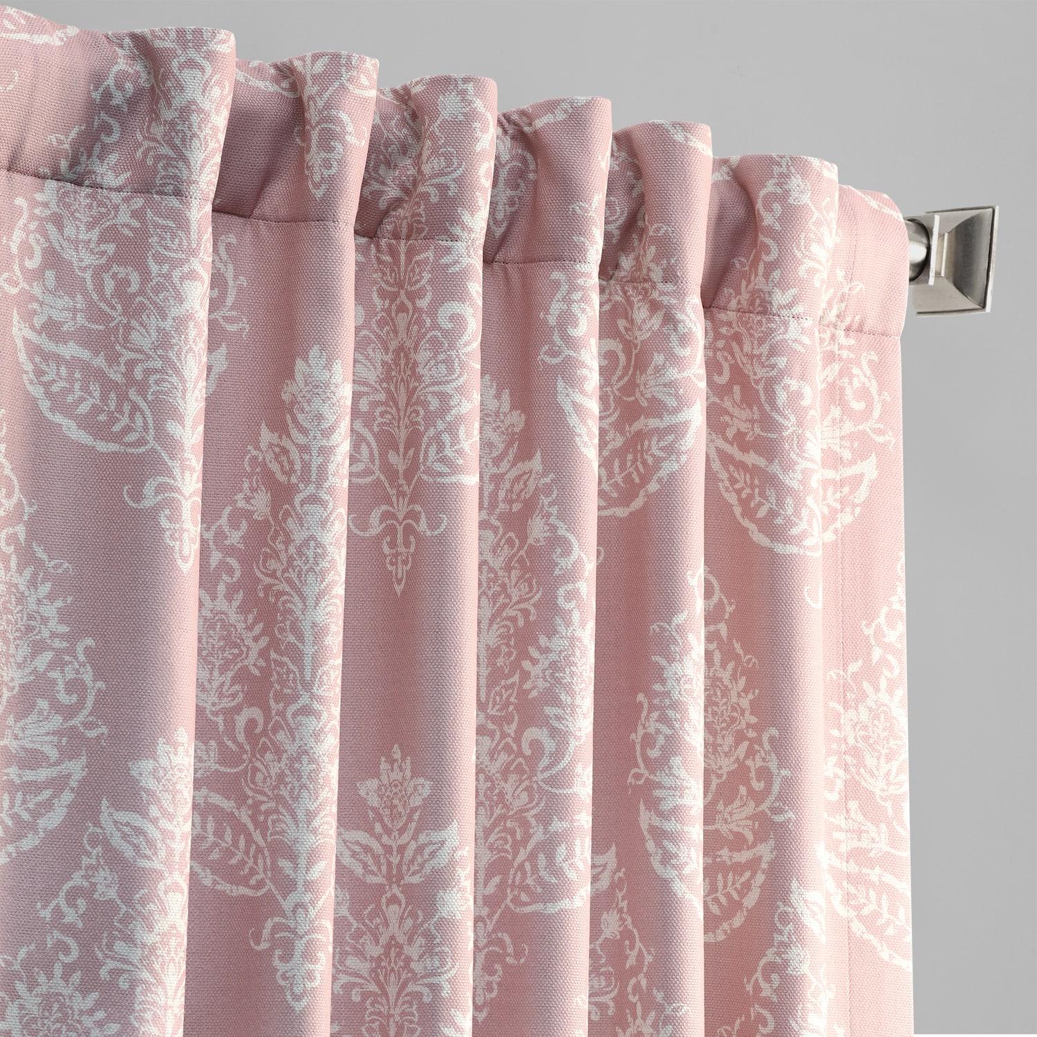 Istanbul Pink Printed Linen Textured Blackout Curtain