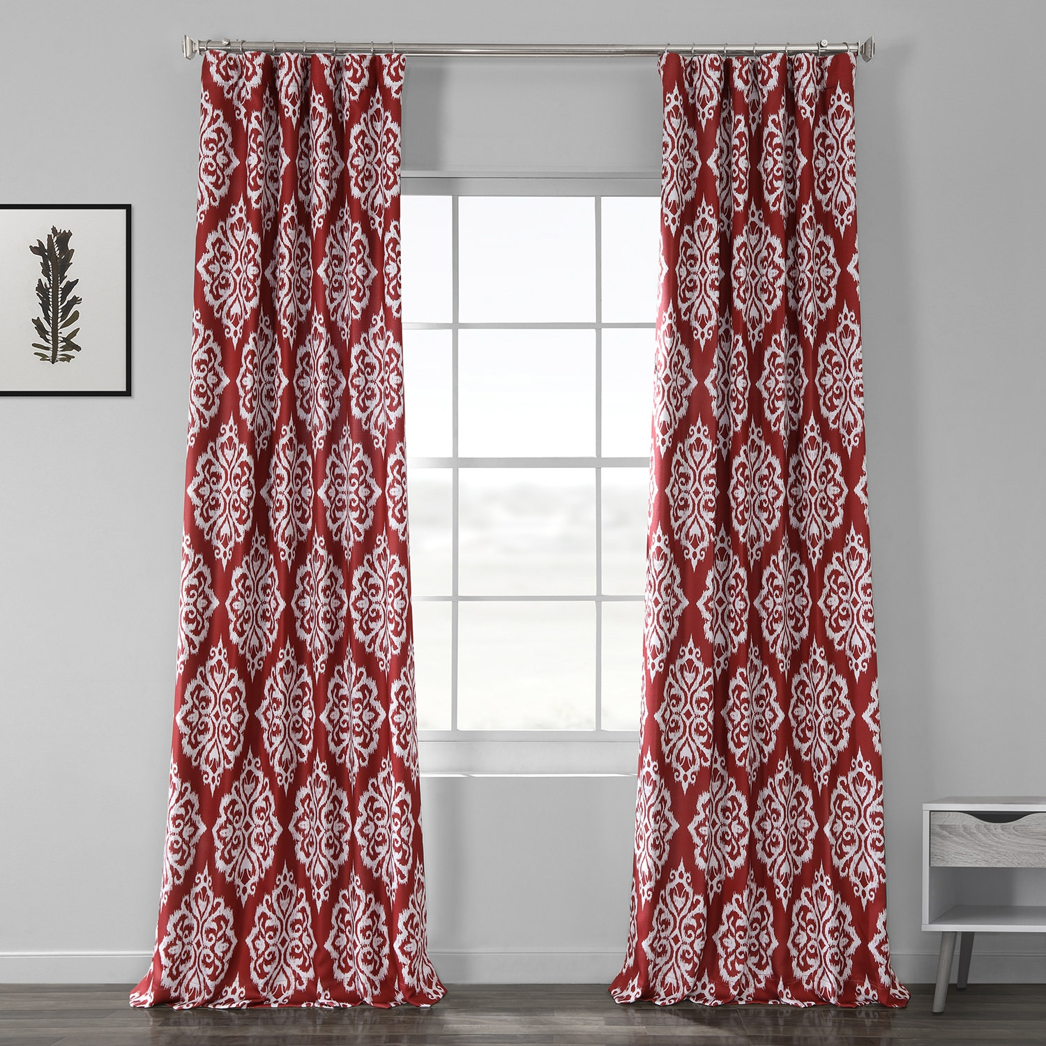 Cameo Red Printed Linen Textured Blackout Curtain