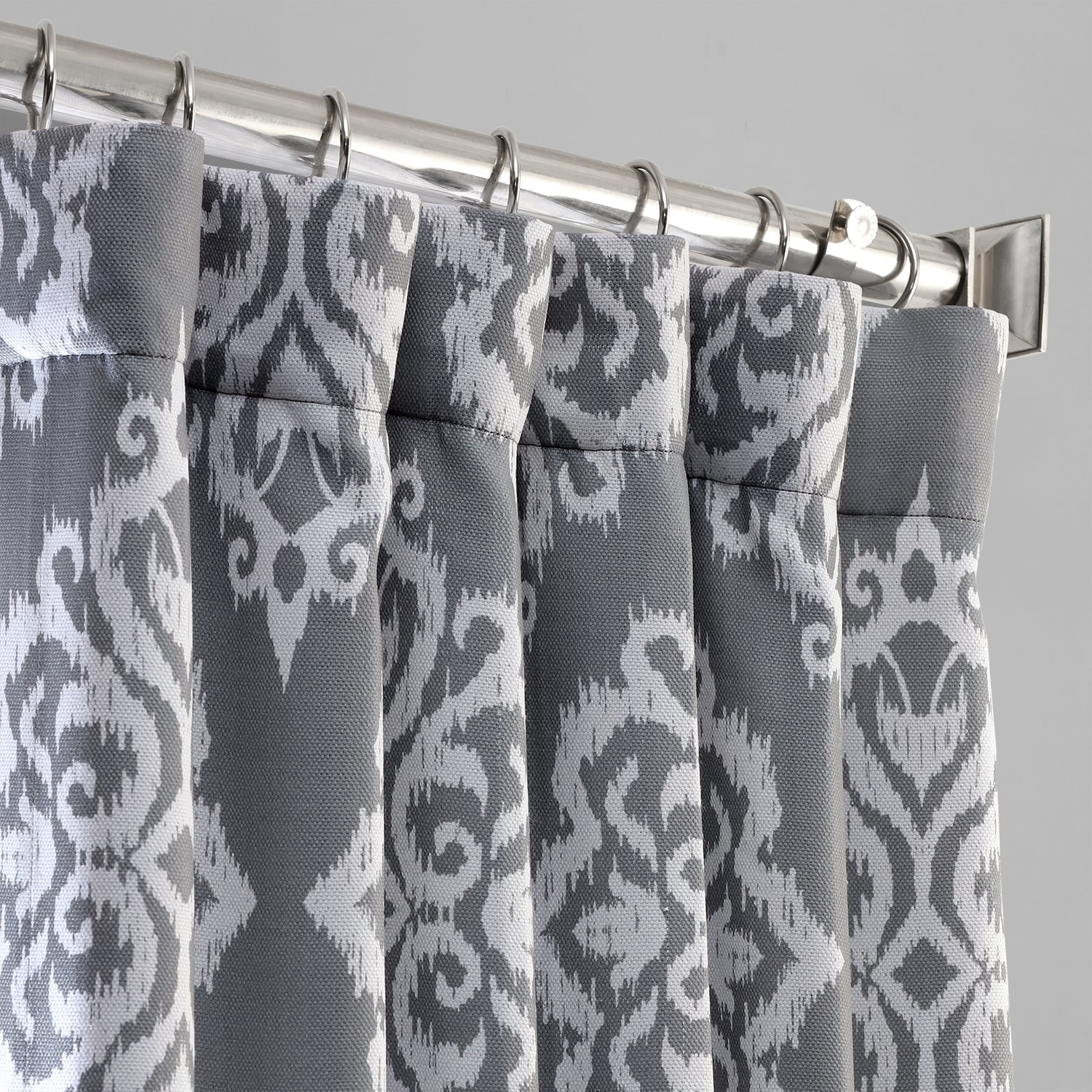 Cameo Grey Printed Linen Textured Blackout Curtain