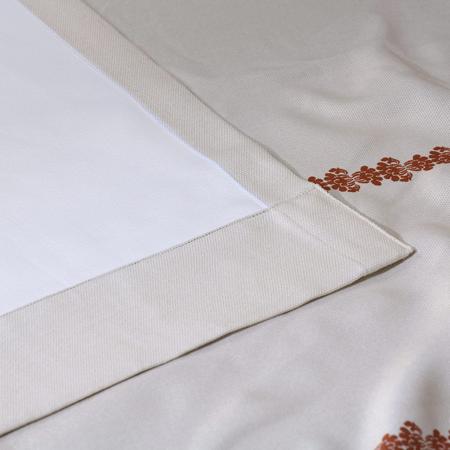 Cyprus Rust Printed Linen Textured Blackout Curtain