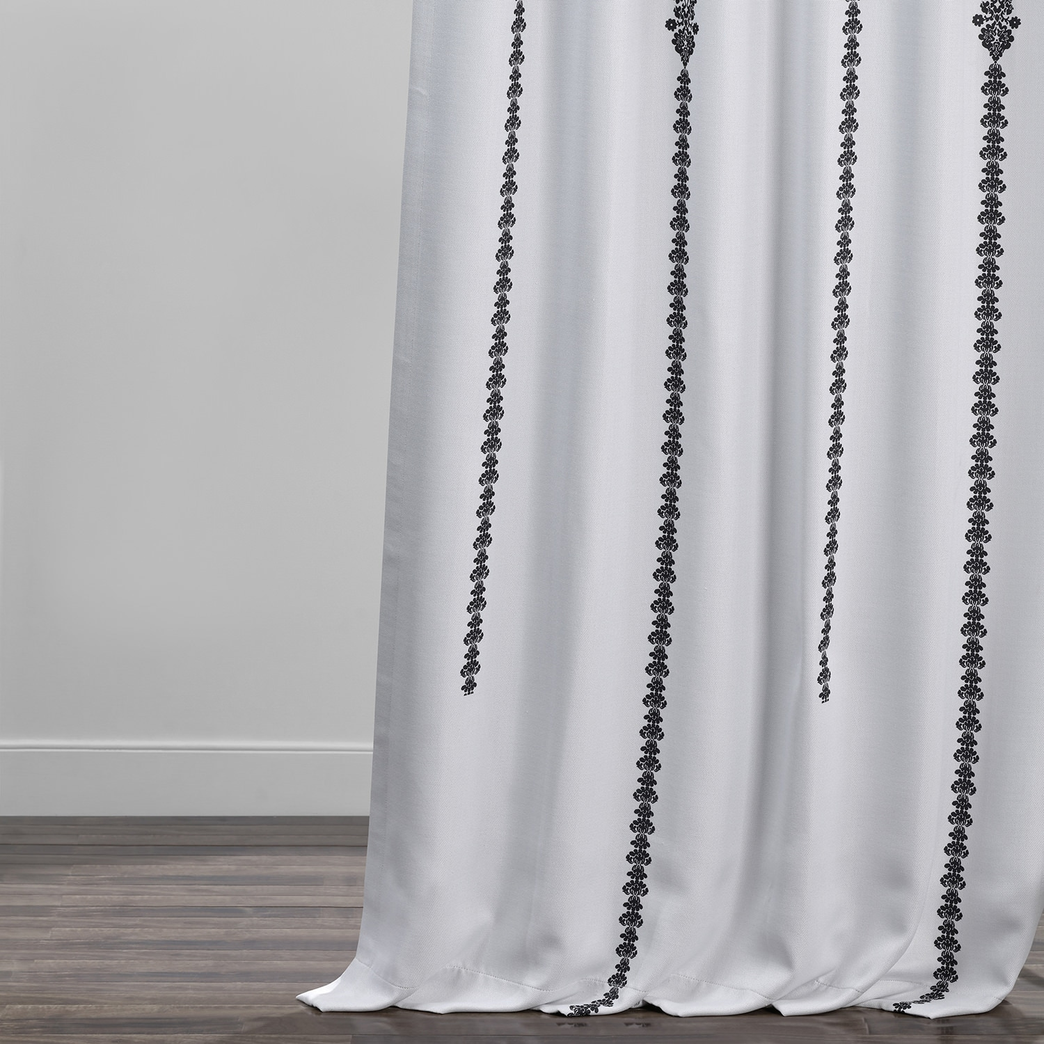 Cyprus Black Printed Linen Textured Blackout Curtain