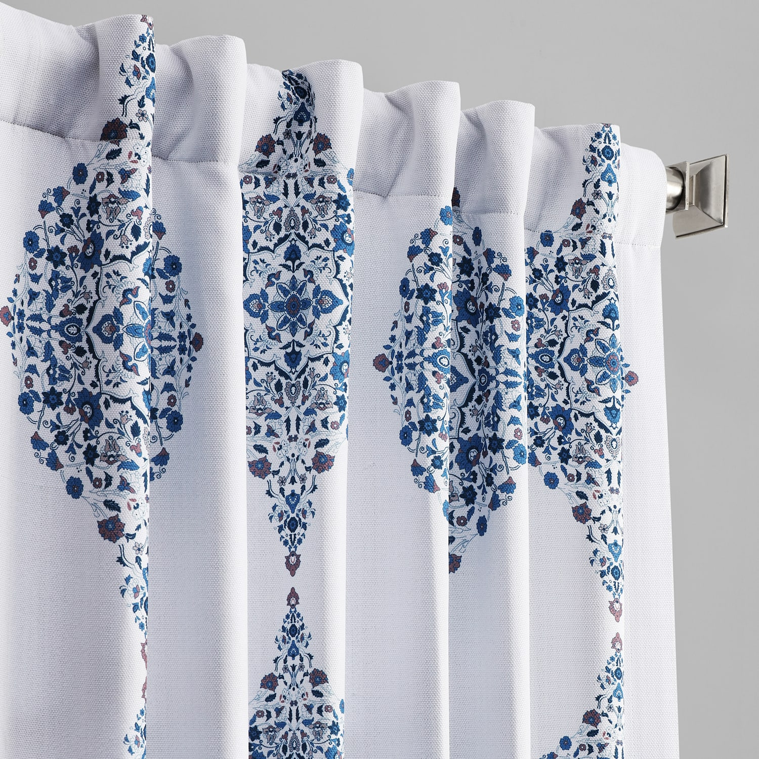 Karachi Navy Printed Linen Textured Blackout Curtain