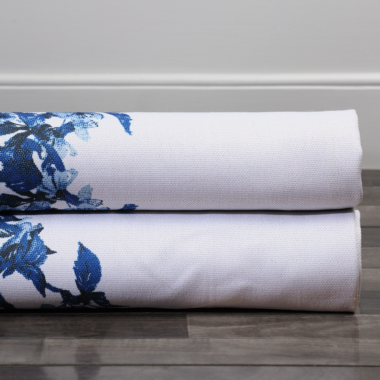 Sparrow Blue Printed Linen Textured Blackout Swatch