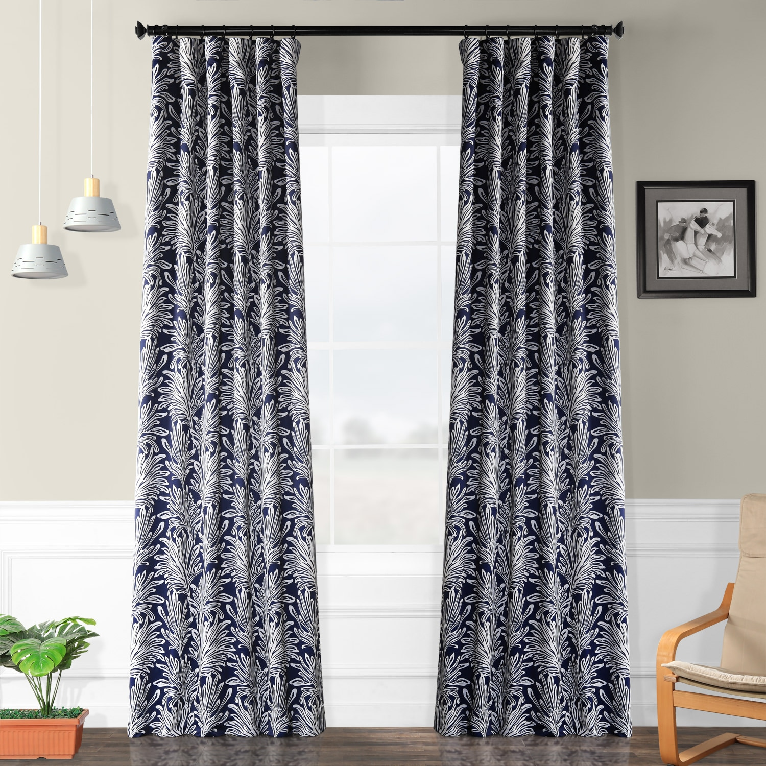 Flora Navy Blackout Room Darkening Curtain