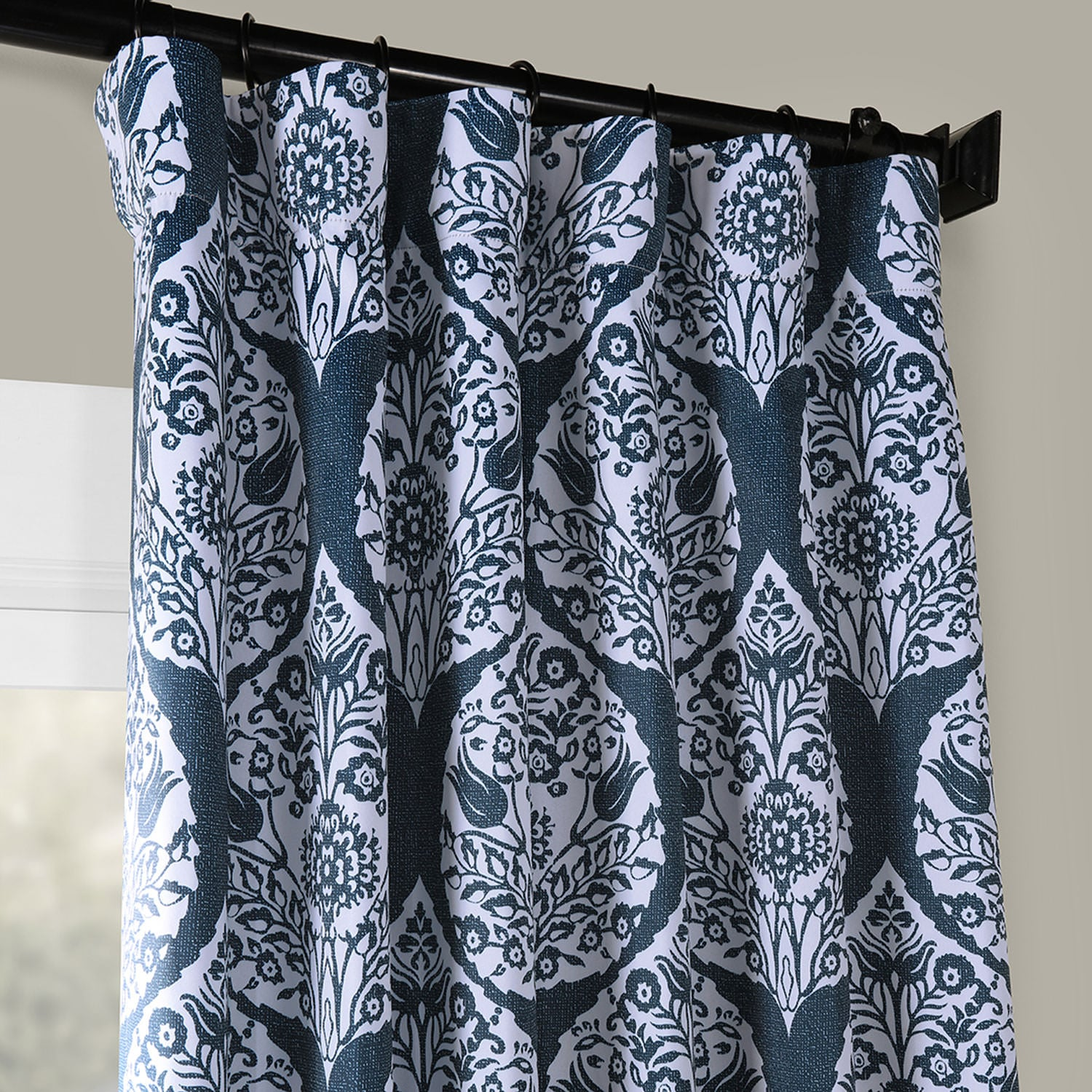Woodcut Navy Blackout Curtain