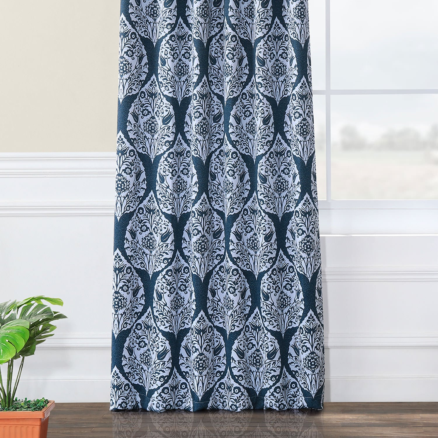Woodcut Navy Blackout Room Darkening Curtain