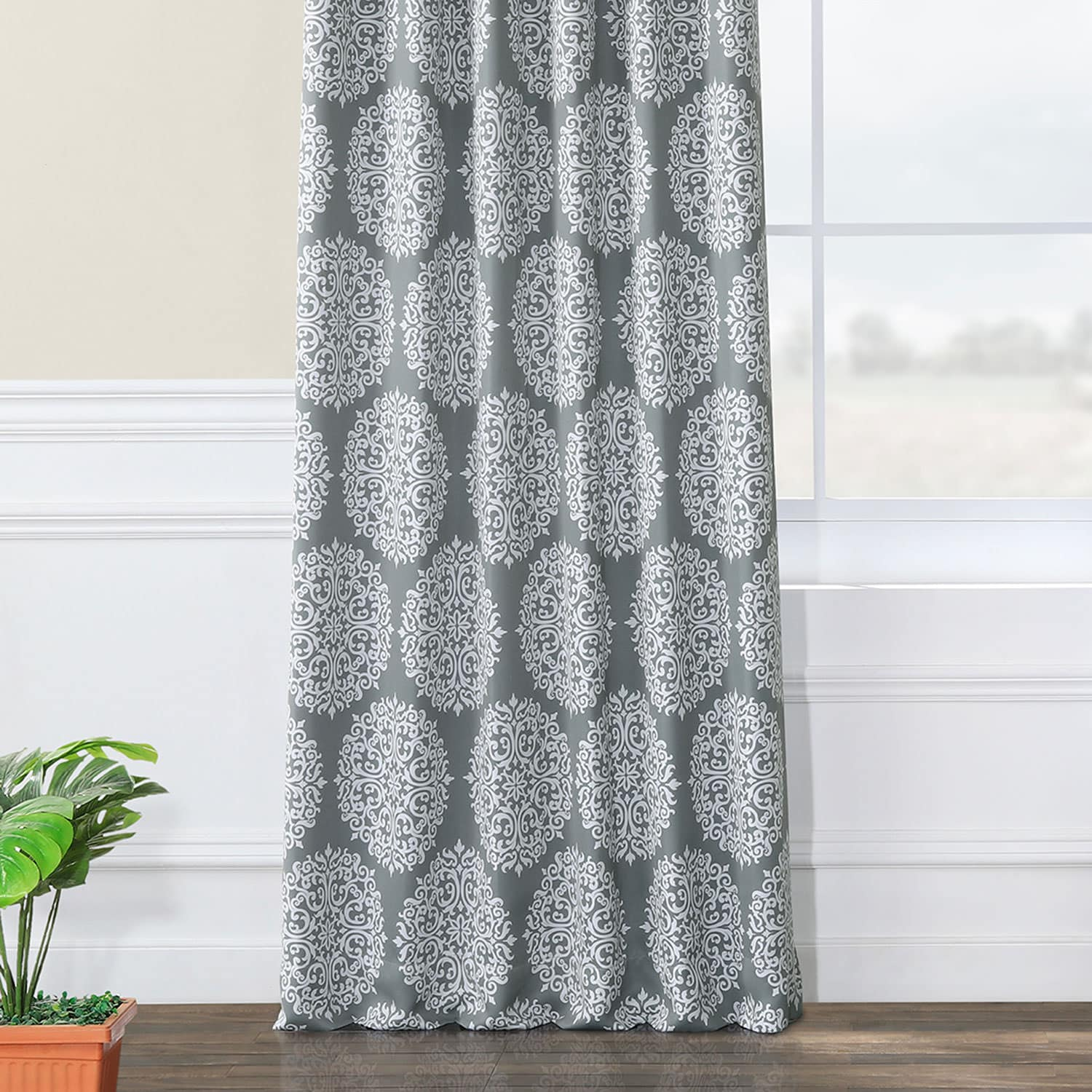 Meridian Grey Blackout Room Darkening Curtain