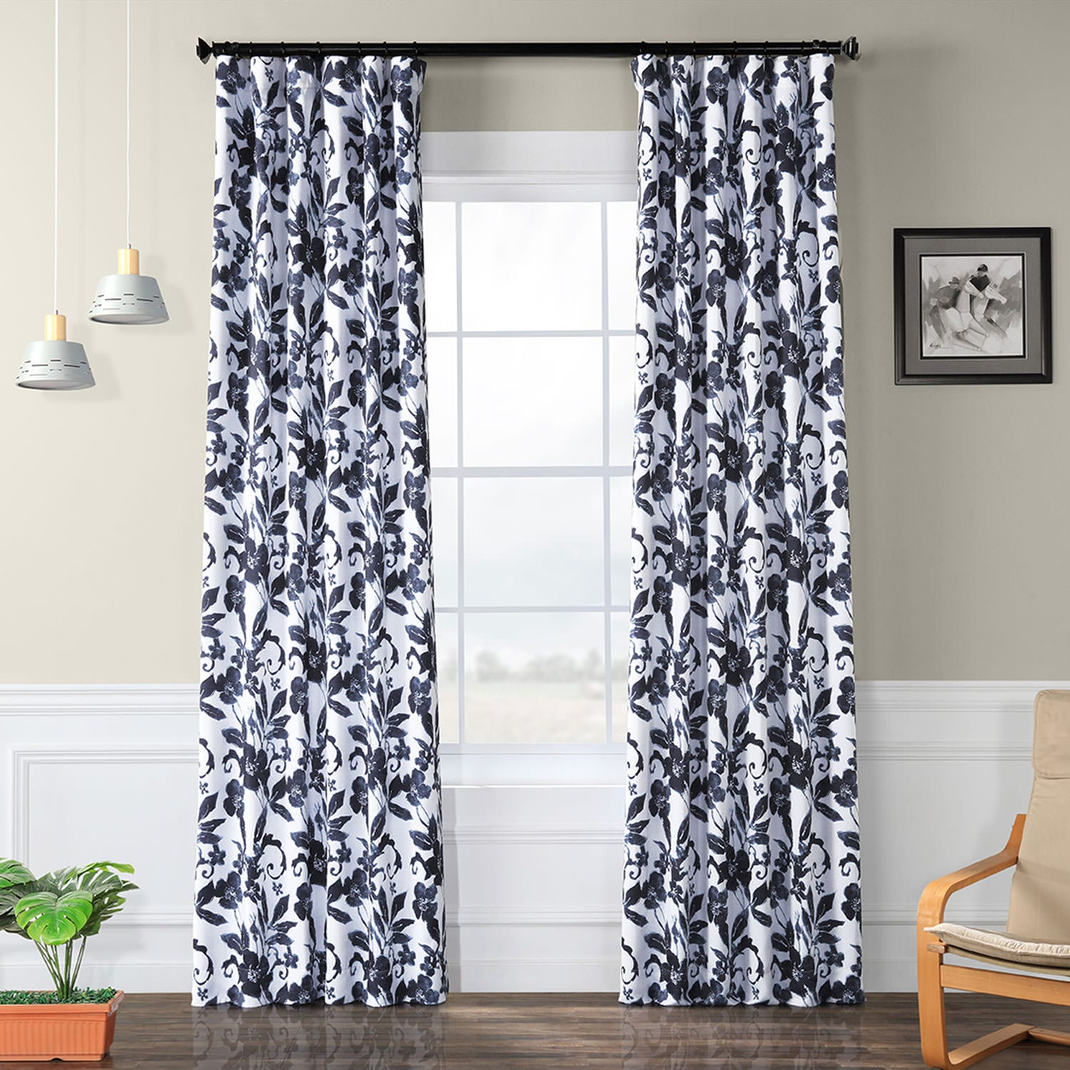 Hibiscus Blue Blackout Curtain