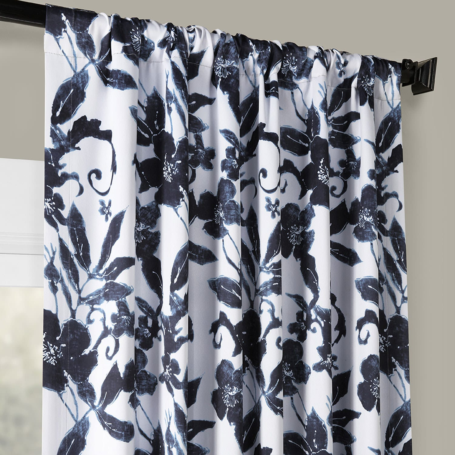 Hibiscus Blue Blackout Room Darkening Curtain