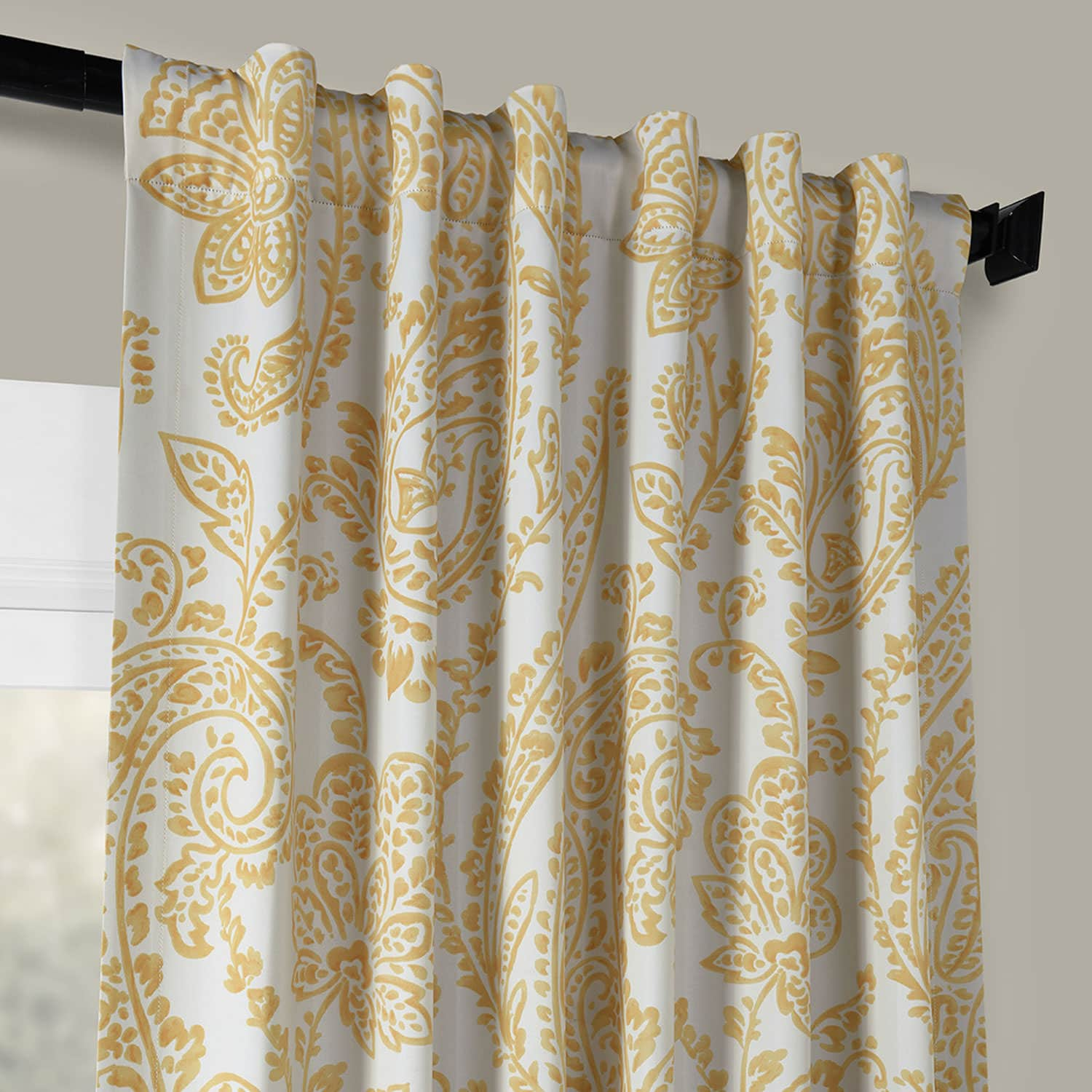 Tea Time Yellow Gold Blackout Room Darkening Curtain