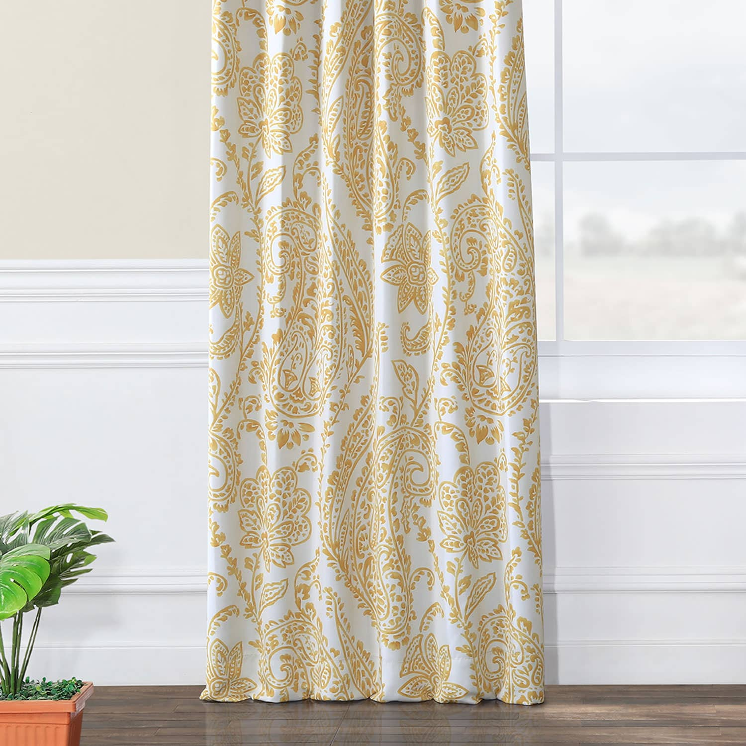 Tea Time Yellow Gold Blackout Curtain