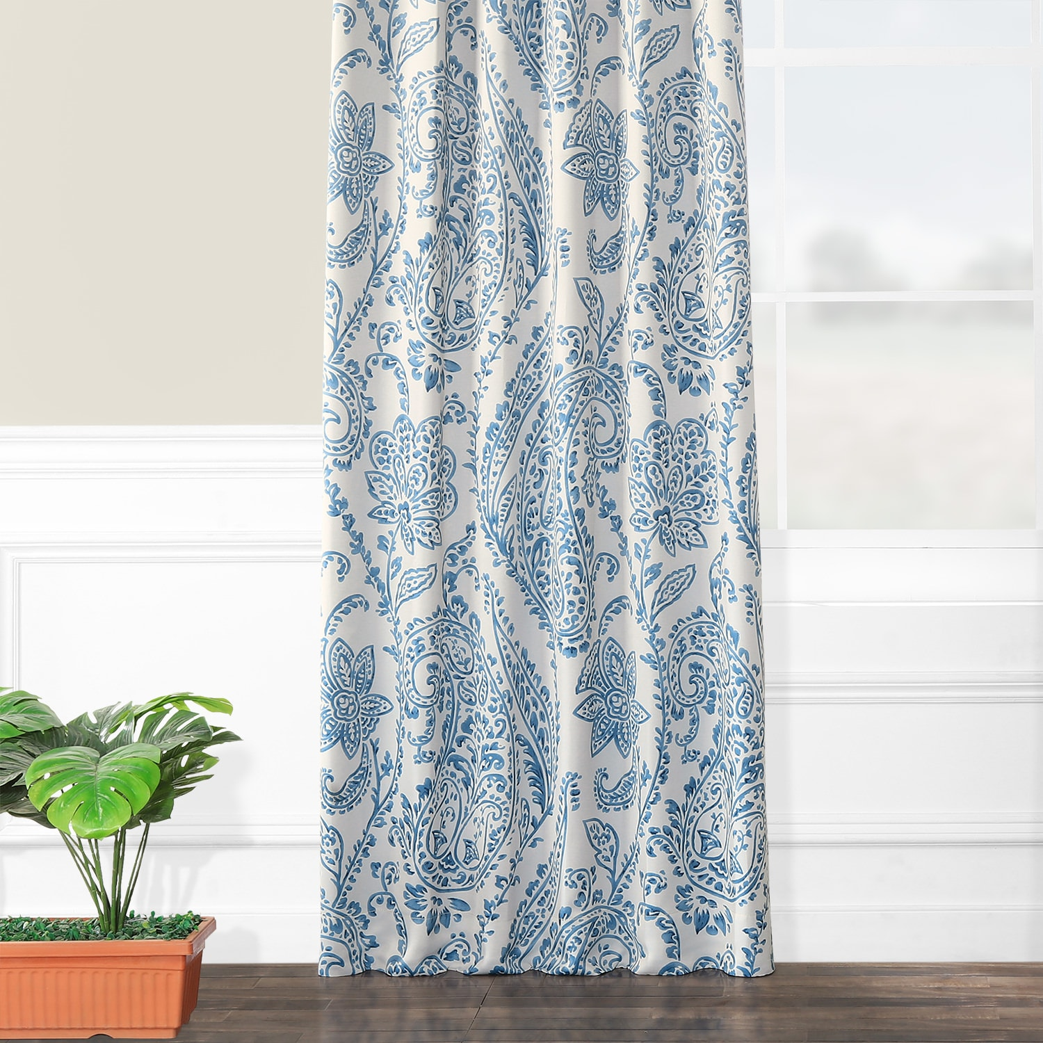 Tea Time China Blue Blackout Room Darkening Curtain