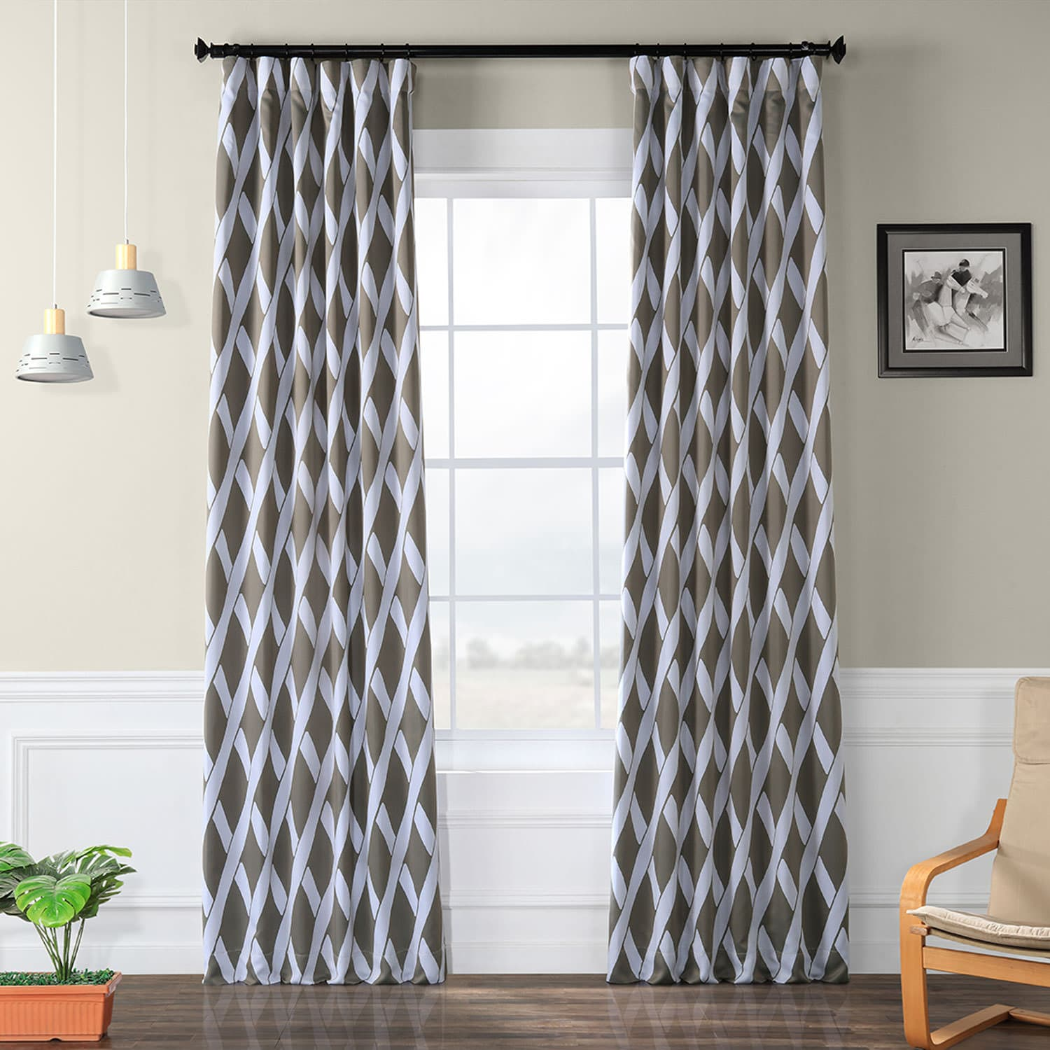 Crosshatch Grey Blackout Room Darkening Curtain