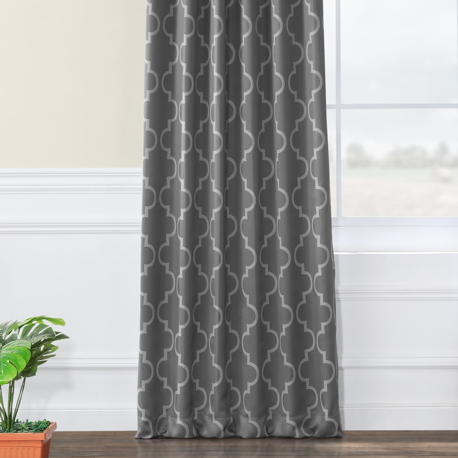 Seville Grey & Silver Blackout Room Darkening Curtain