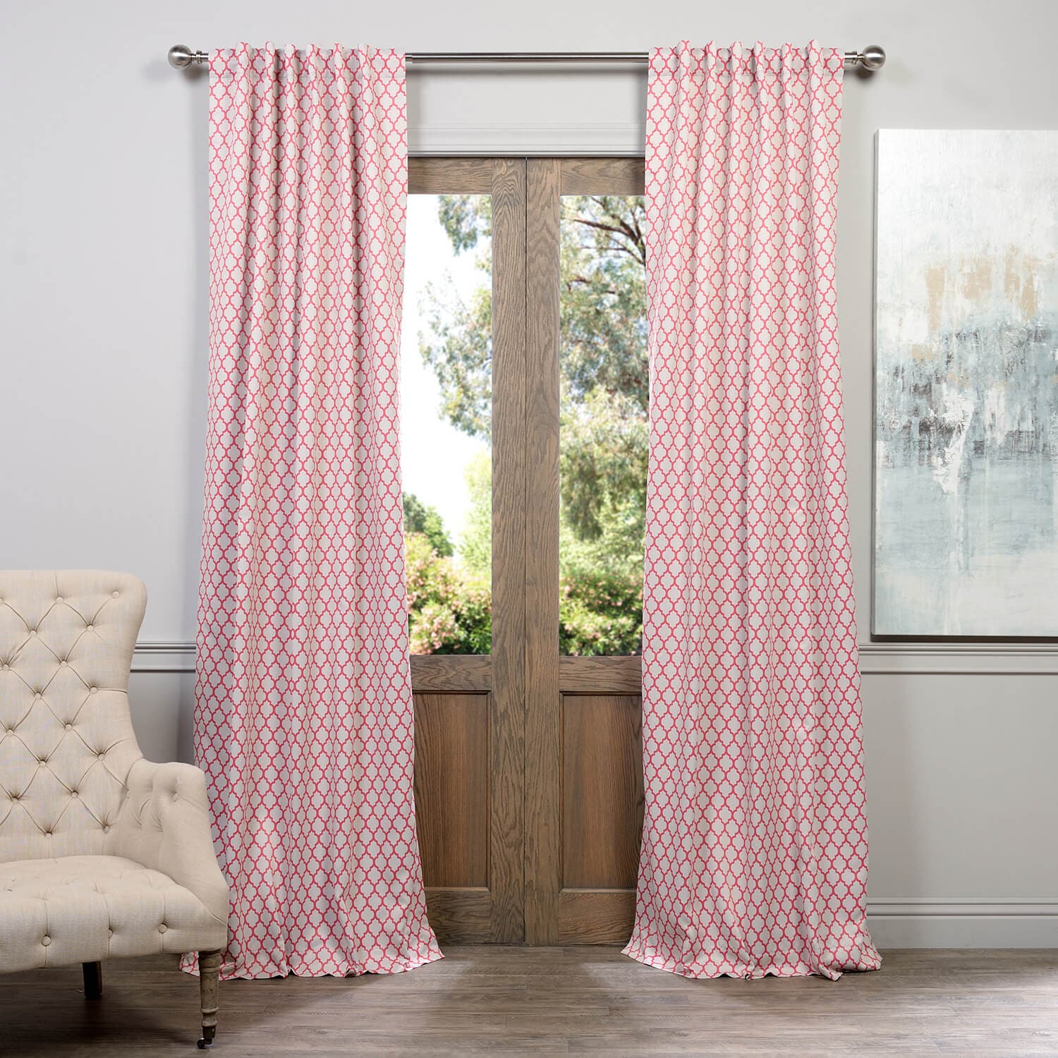 Casablanca Rose Room Darkening Curtain
