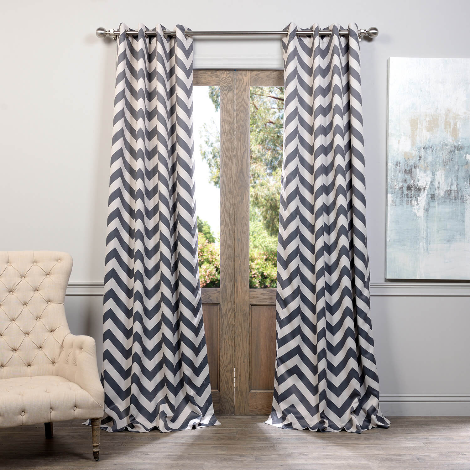 Fez Grey & Tan Grommet Blackout Room Darkening Curtain
