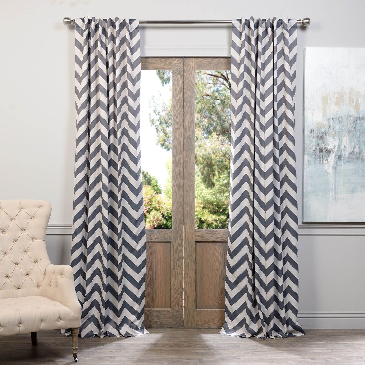 Fez Grey & Tan Blackout Room Darkening Curtain
