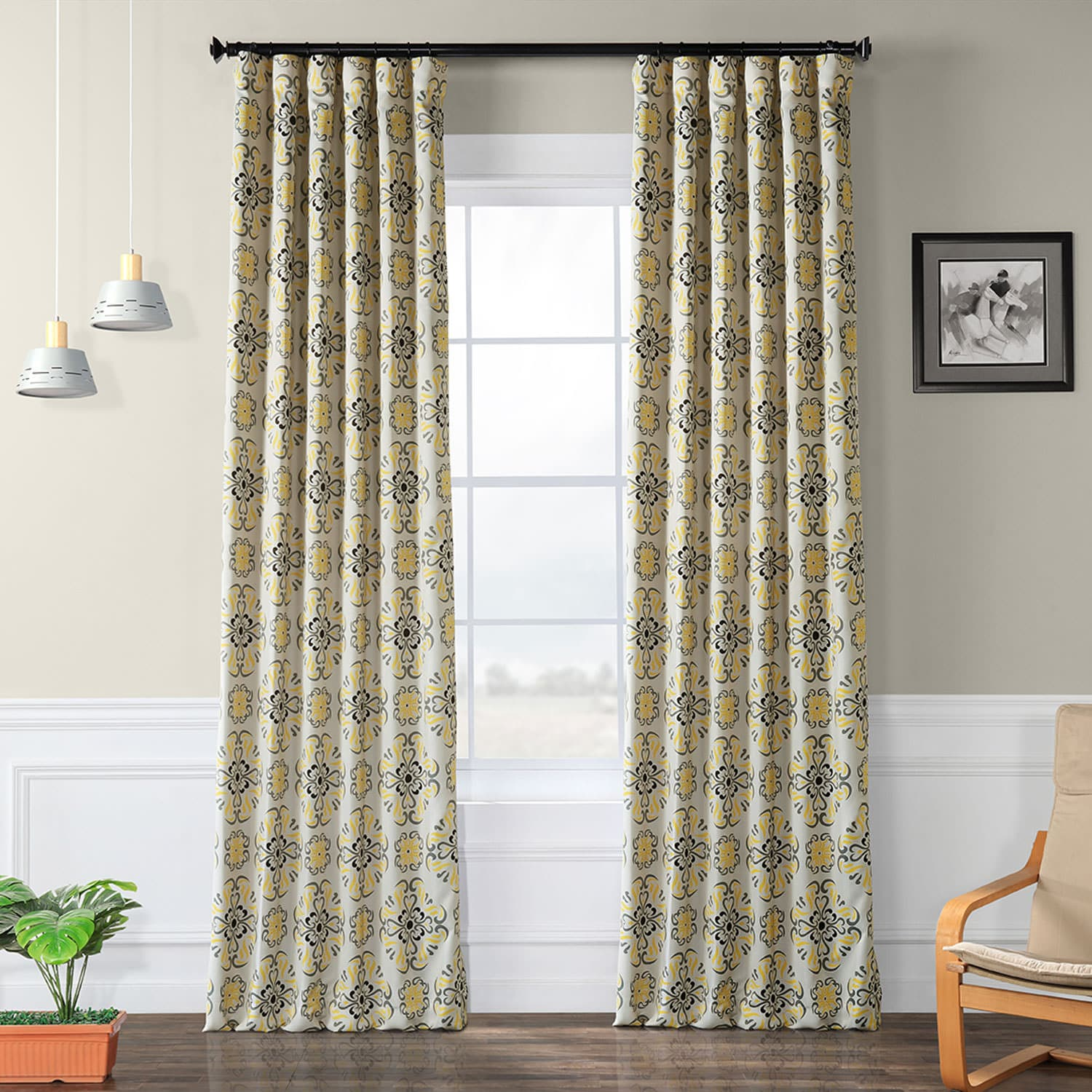 Soliel Yellow Grey Blackout Room Darkening Curtain