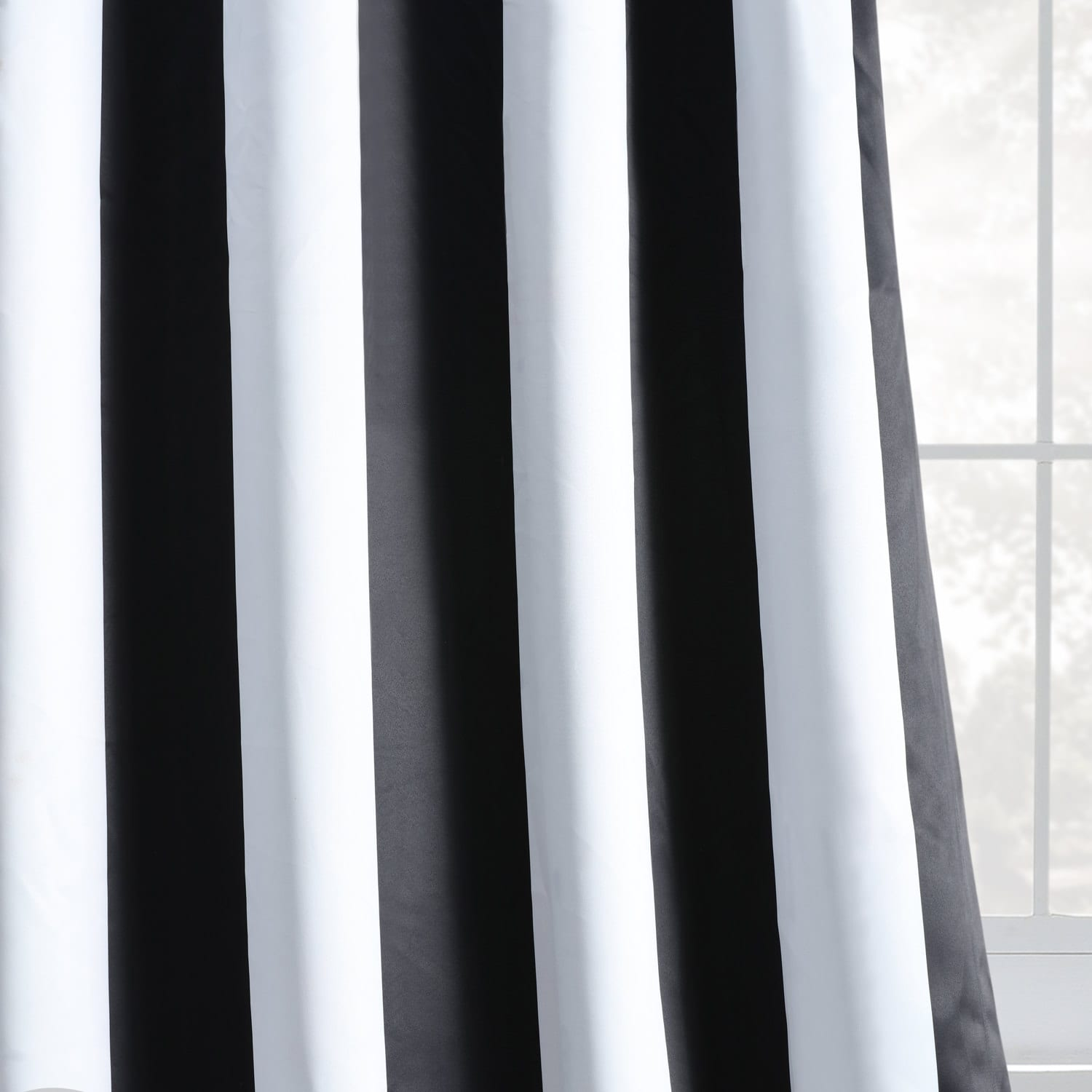 Awning Black & White Stripe Grommet Room Darkening Curtain