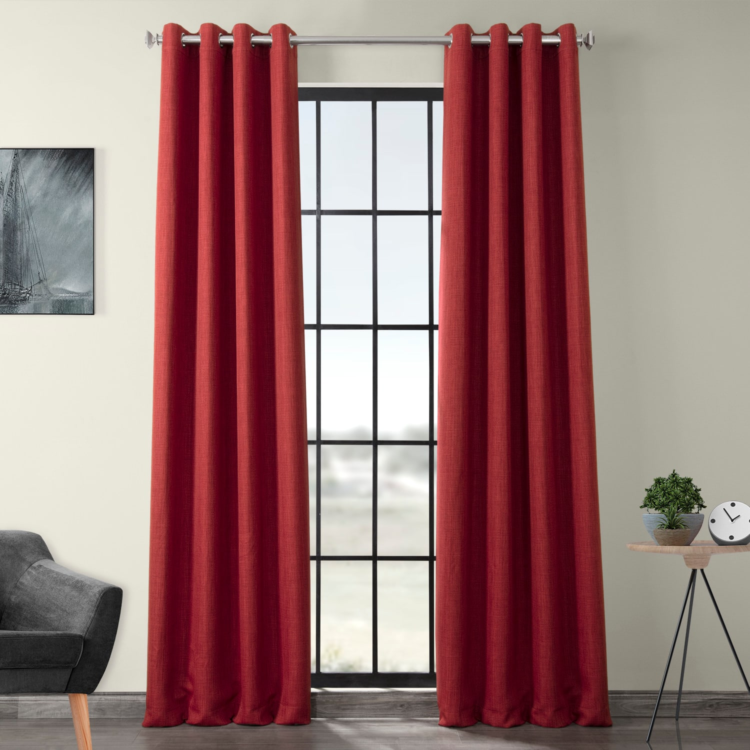 Cardinal Faux Linen Grommet Blackout Room Darkening Curtain