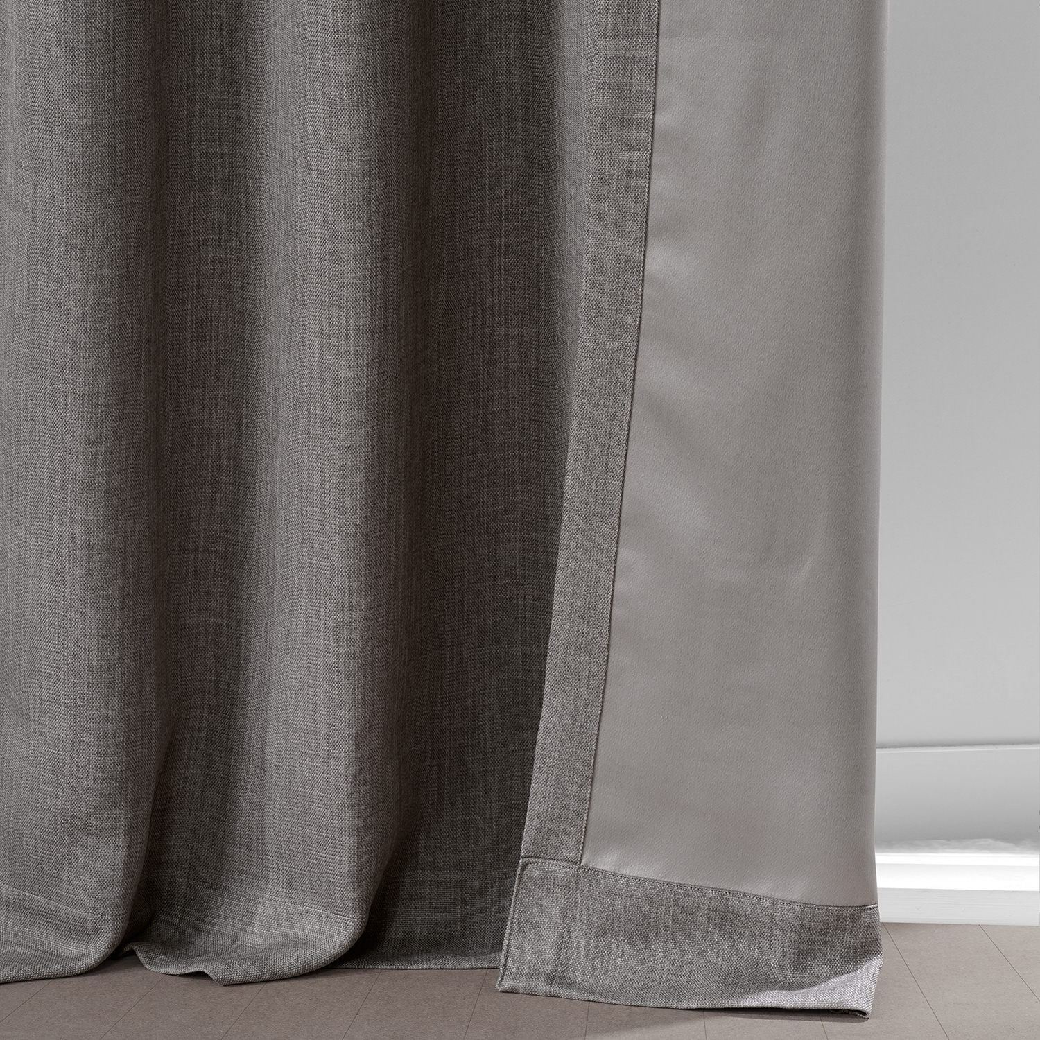 Mink Faux Linen Grommet Blackout Room Darkening Curtain