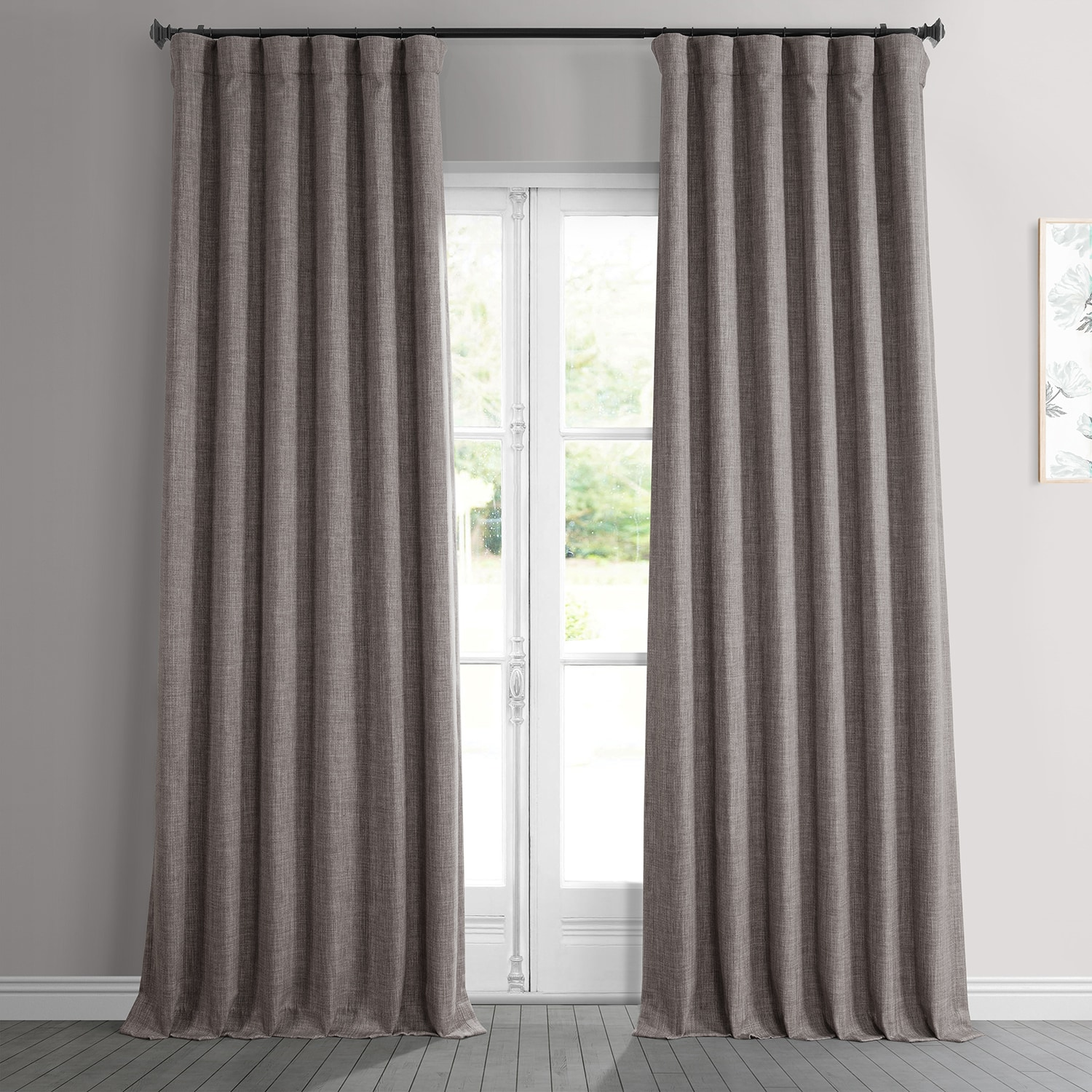 Mink Faux Linen Blackout Room Darkening Curtain