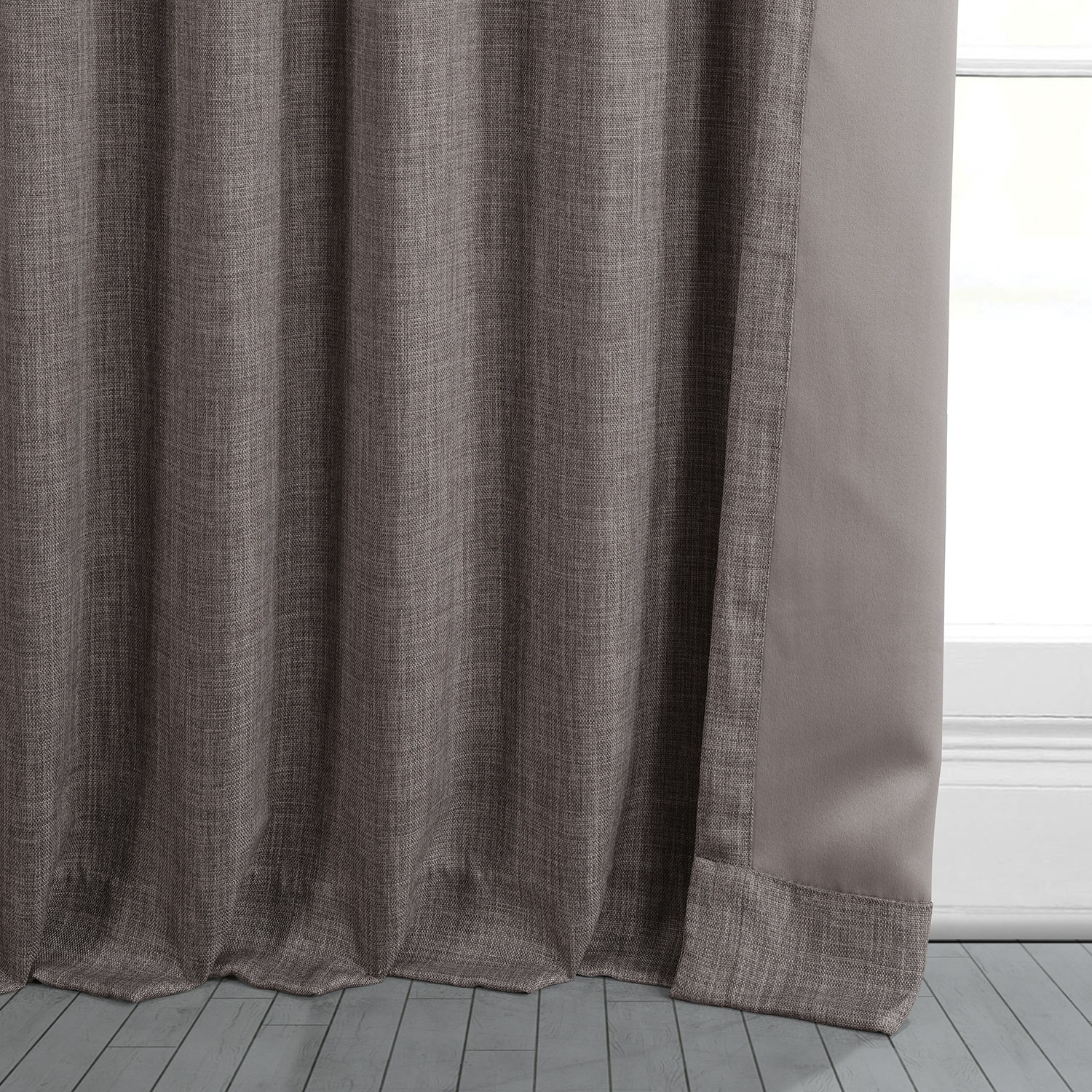 Mink Faux Linen Room Darkening Curtain
