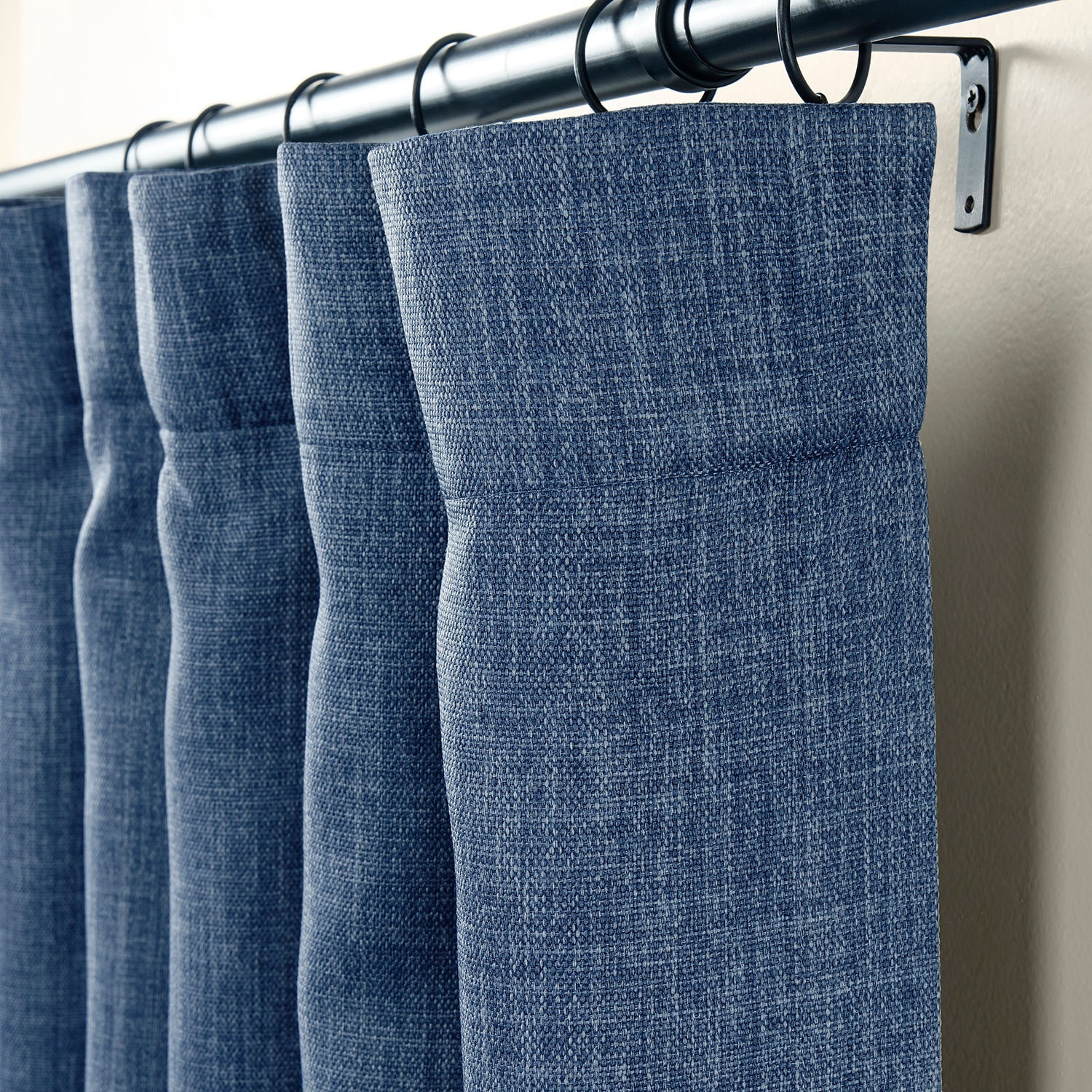 Denim Faux Linen Blackout Room Darkening Curtain