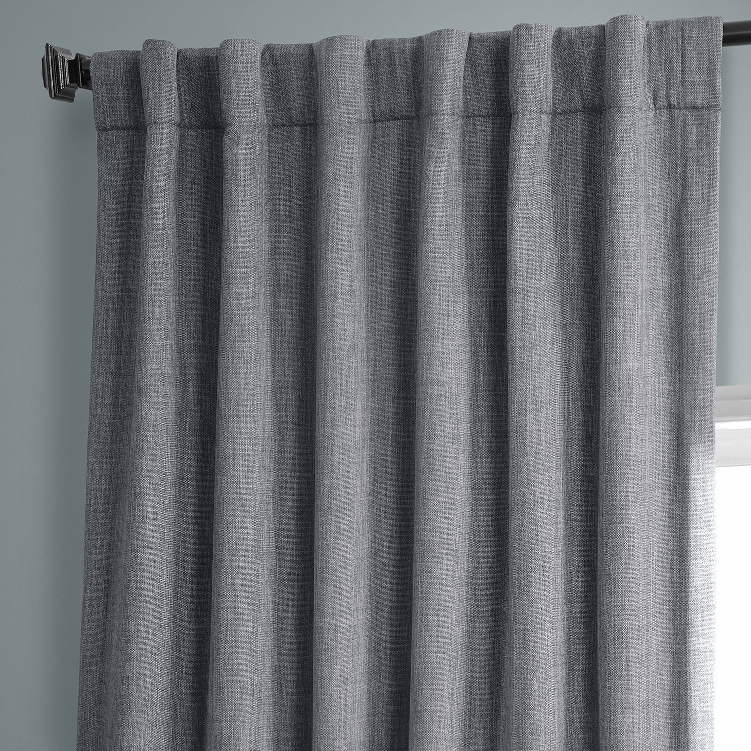 Blazer Grey Faux Linen Blackout Room Darkening Curtain