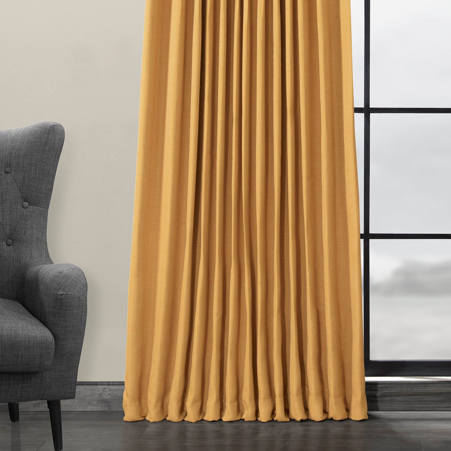 Dandelion Gold Faux Linen Extra Wide Blackout Room Darkening Curtain