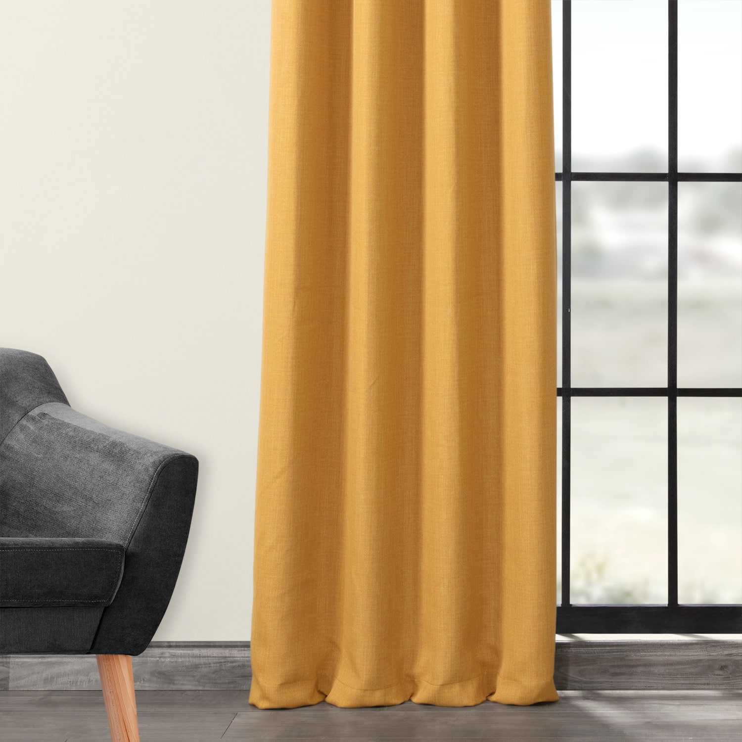 Dandelion Gold Faux Linen Grommet Blackout Room Darkening Curtain