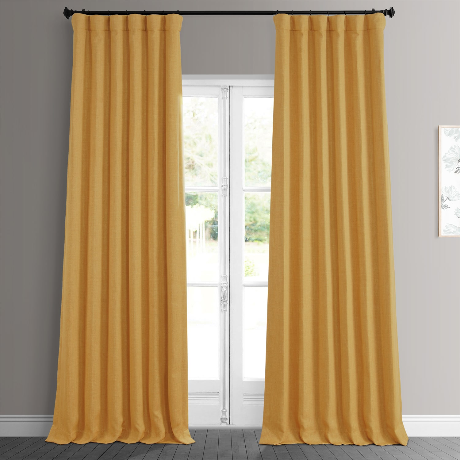 Dandelion Gold Faux Linen Room Darkening Curtain