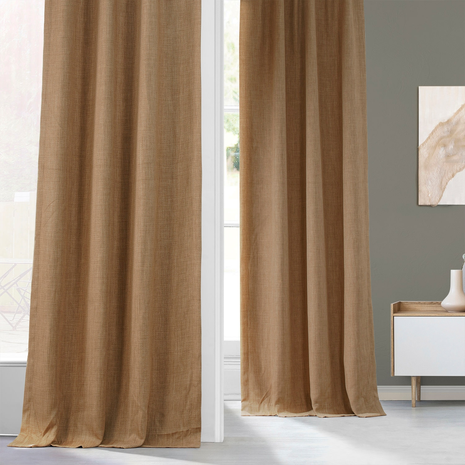 Butterscotch Faux Linen Blackout Curtain