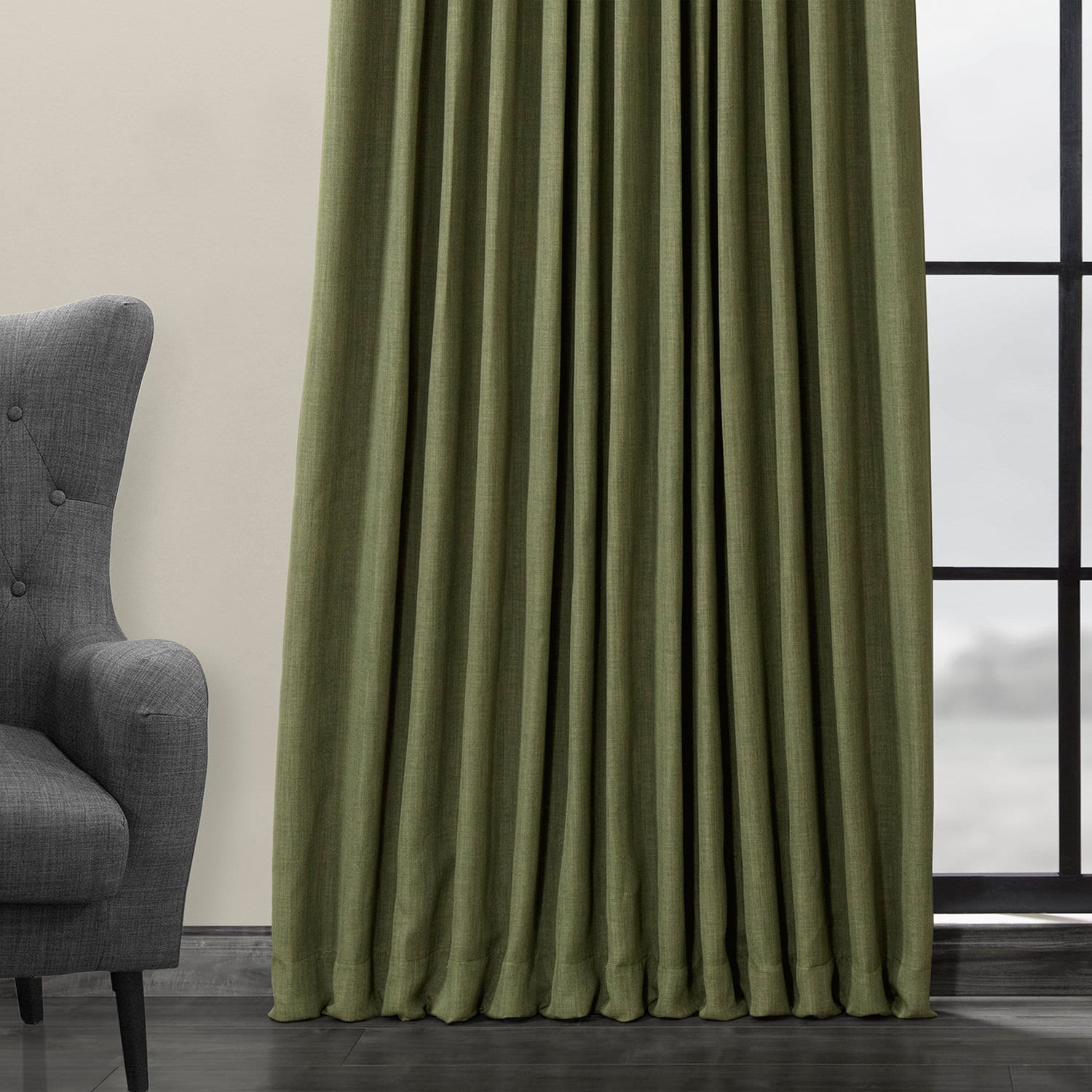 Tuscany Green Faux Linen Extra Wide Blackout Room Darkening Curtain