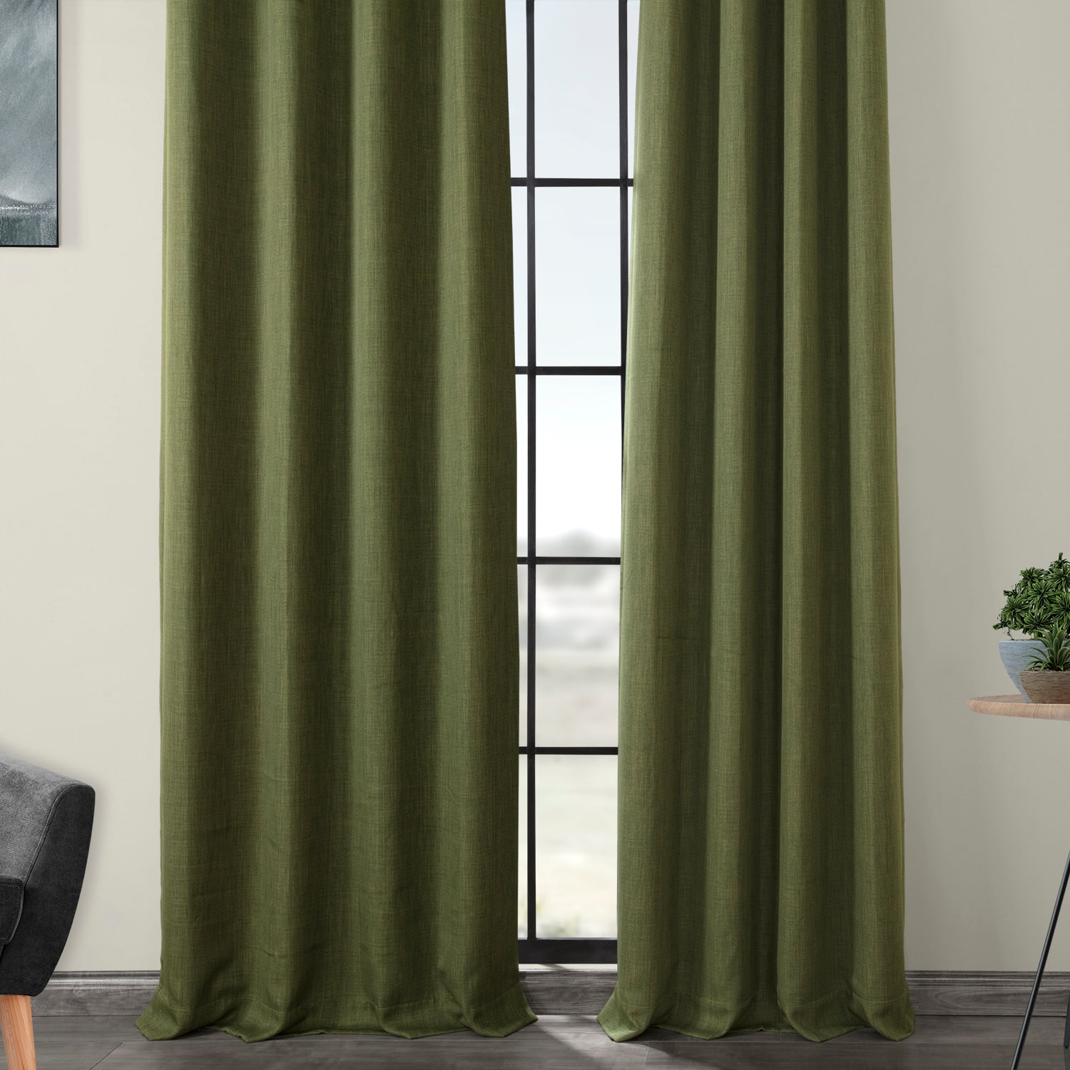Tuscany Green Faux Linen Grommet Blackout Room Darkening Curtain