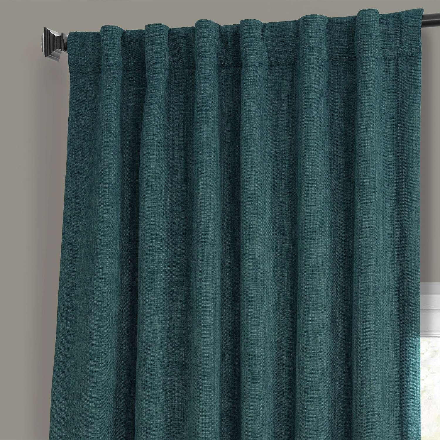 Slate Teal Faux Linen Blackout Curtain