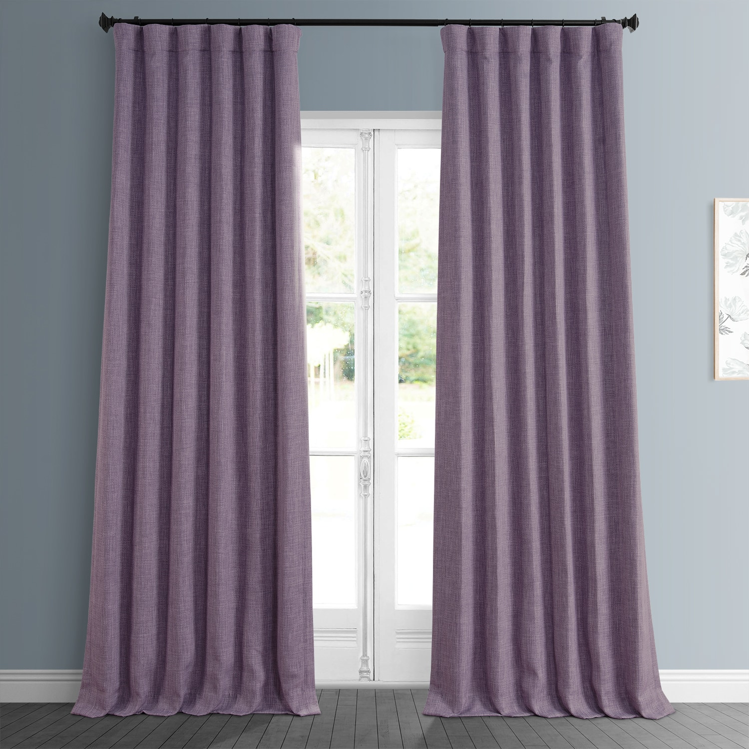 Iris Faux Linen Blackout Room Darkening Curtain