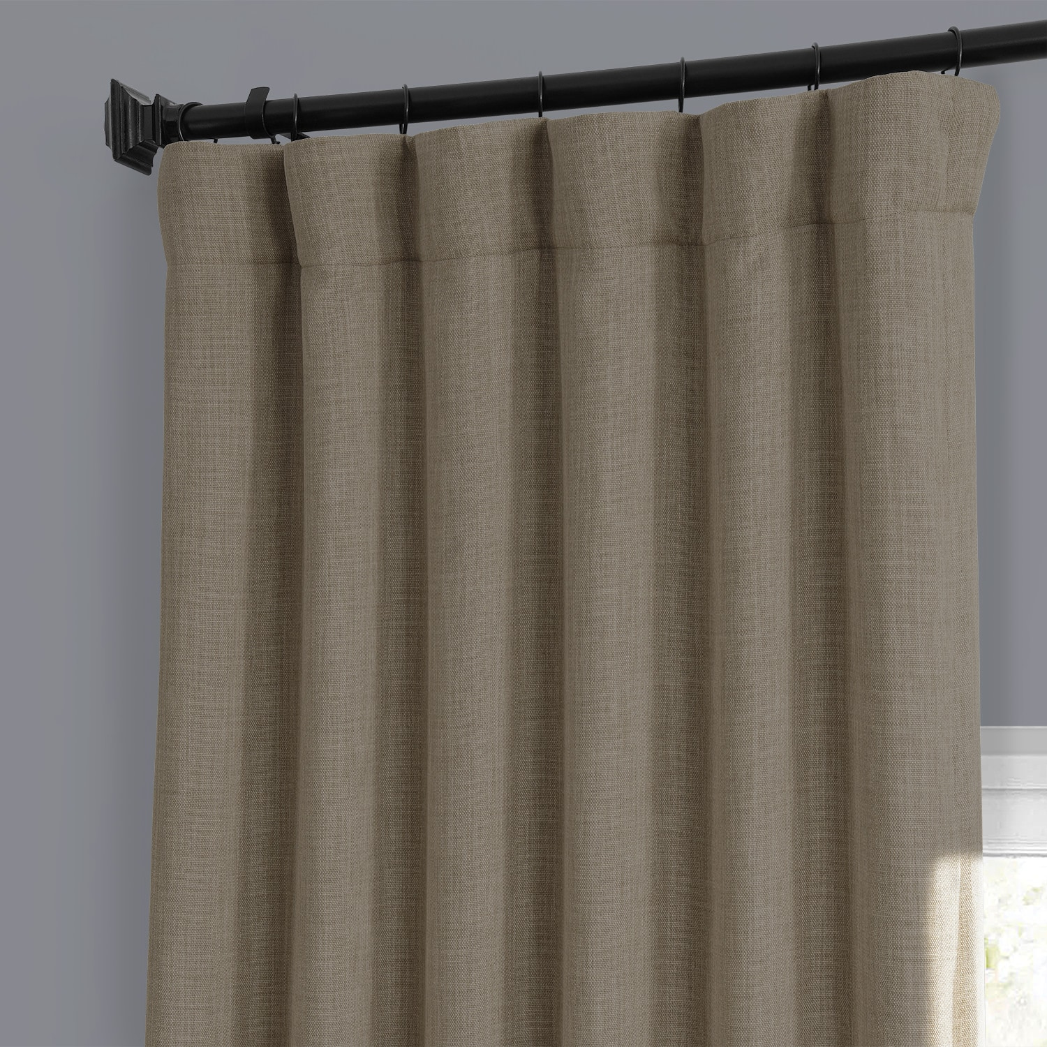 Nomad Tan Faux Linen Blackout Room Darkening Curtain