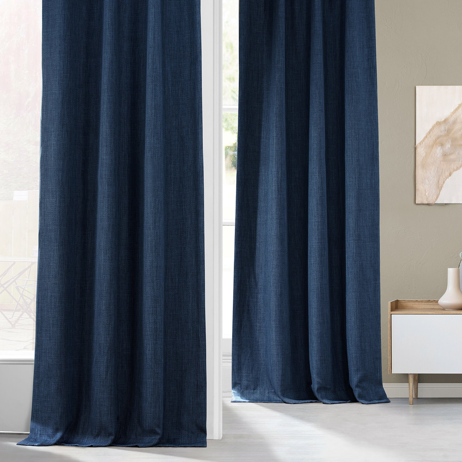 Indigo Faux Linen Blackout Room Darkening Curtain