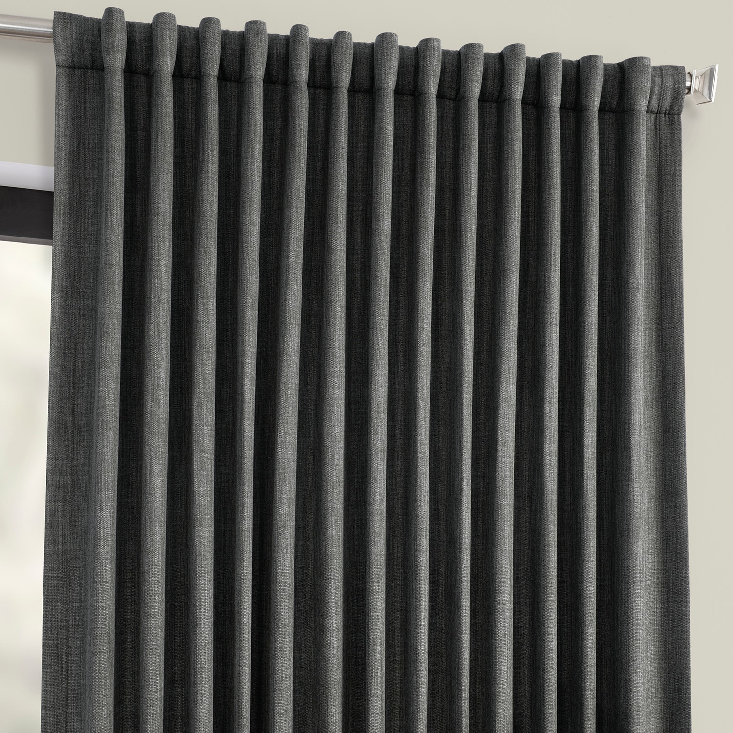 Dark Gravel Faux Linen Extra Wide Blackout Room Darkening Curtain