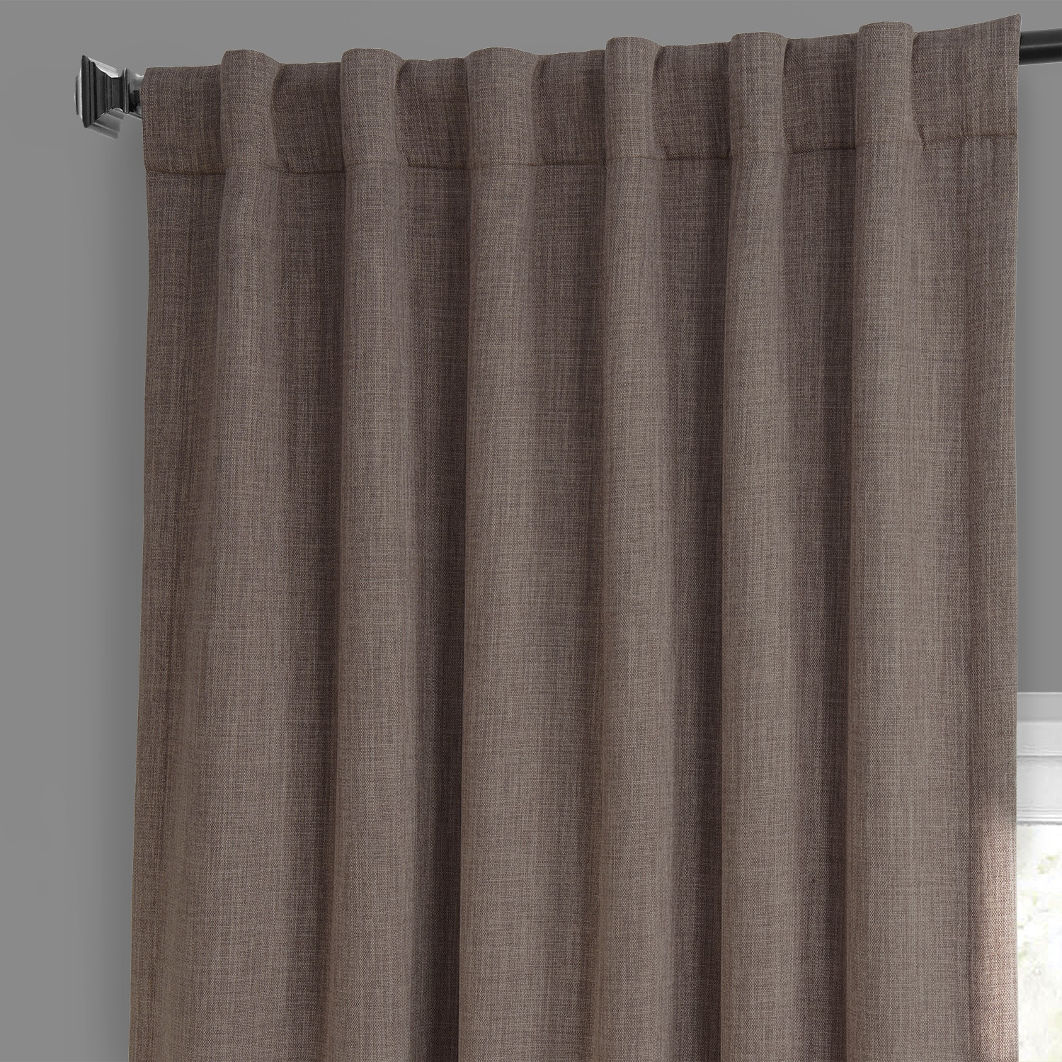 Dutch Cocoa Faux Linen Blackout Room Darkening Curtain
