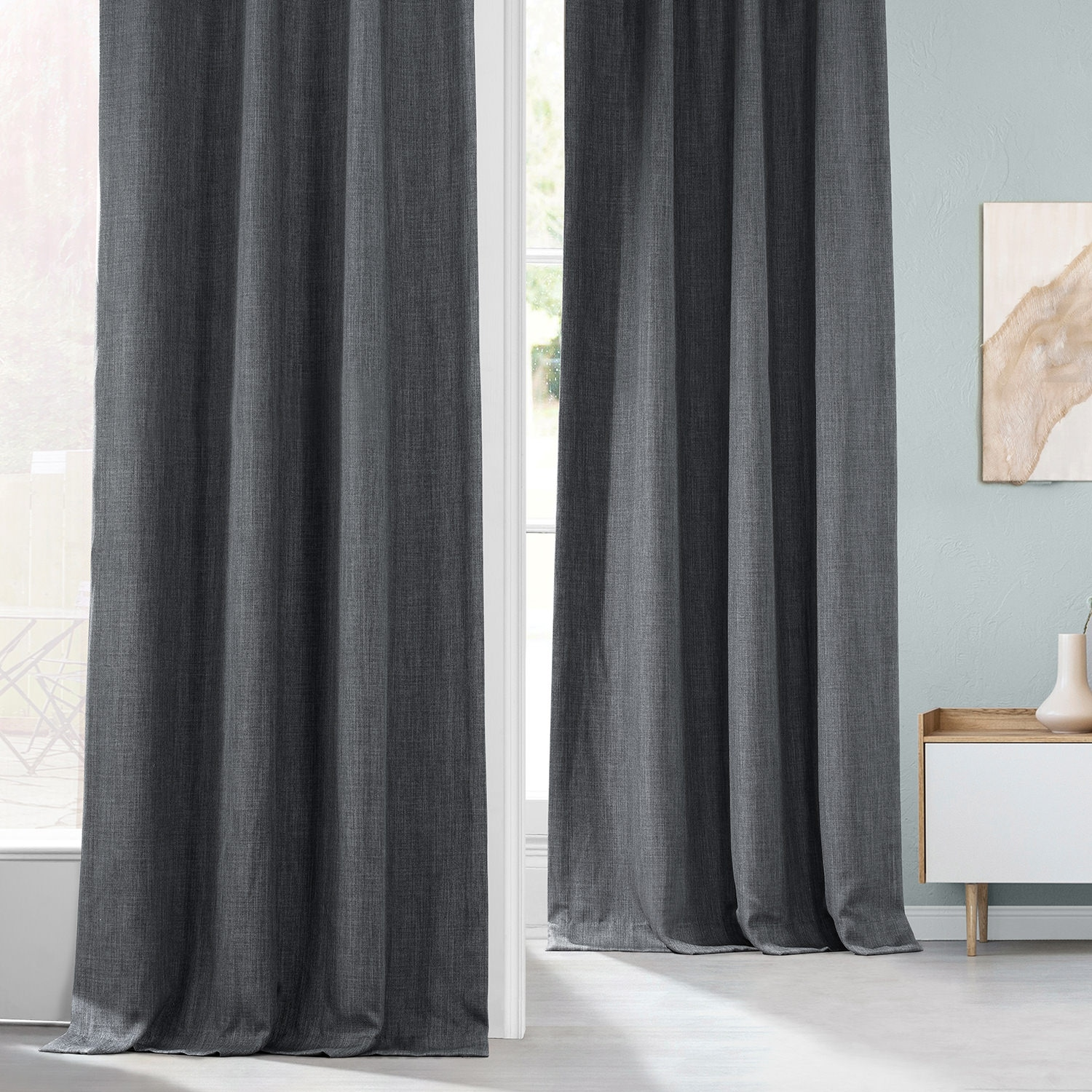 Dark Gravel Faux Linen Blackout Room Darkening Curtain