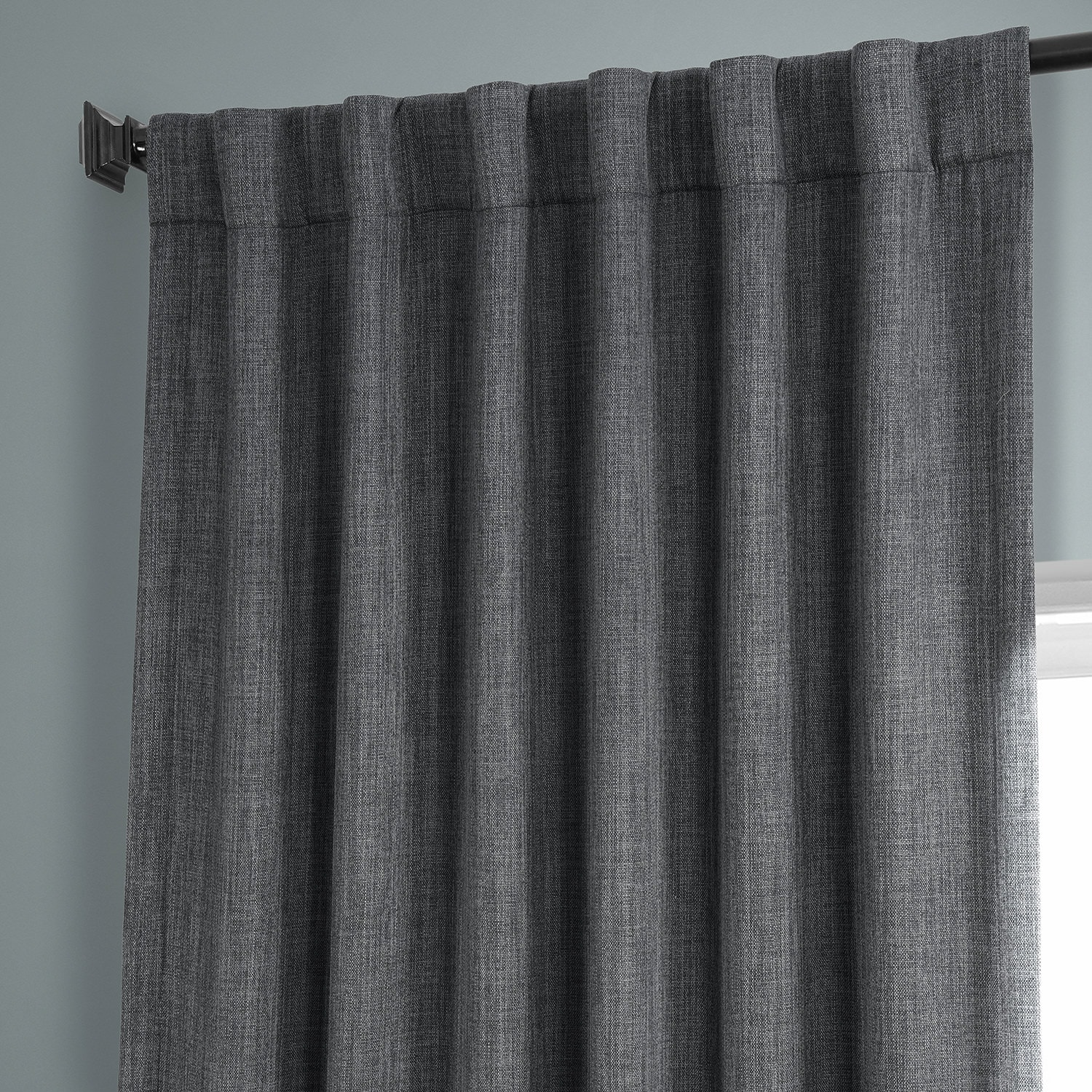 Dark Gravel Faux Linen Blackout Curtain