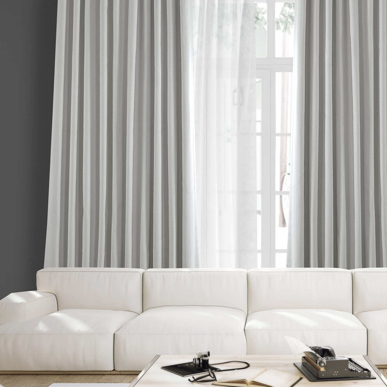 Oyster Faux Linen Extra Wide Blackout Room Darkening Curtain