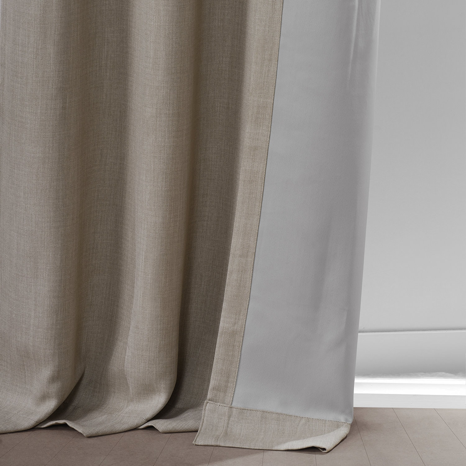 Oatmeal Faux Linen Grommet Blackout Room Darkening Curtain