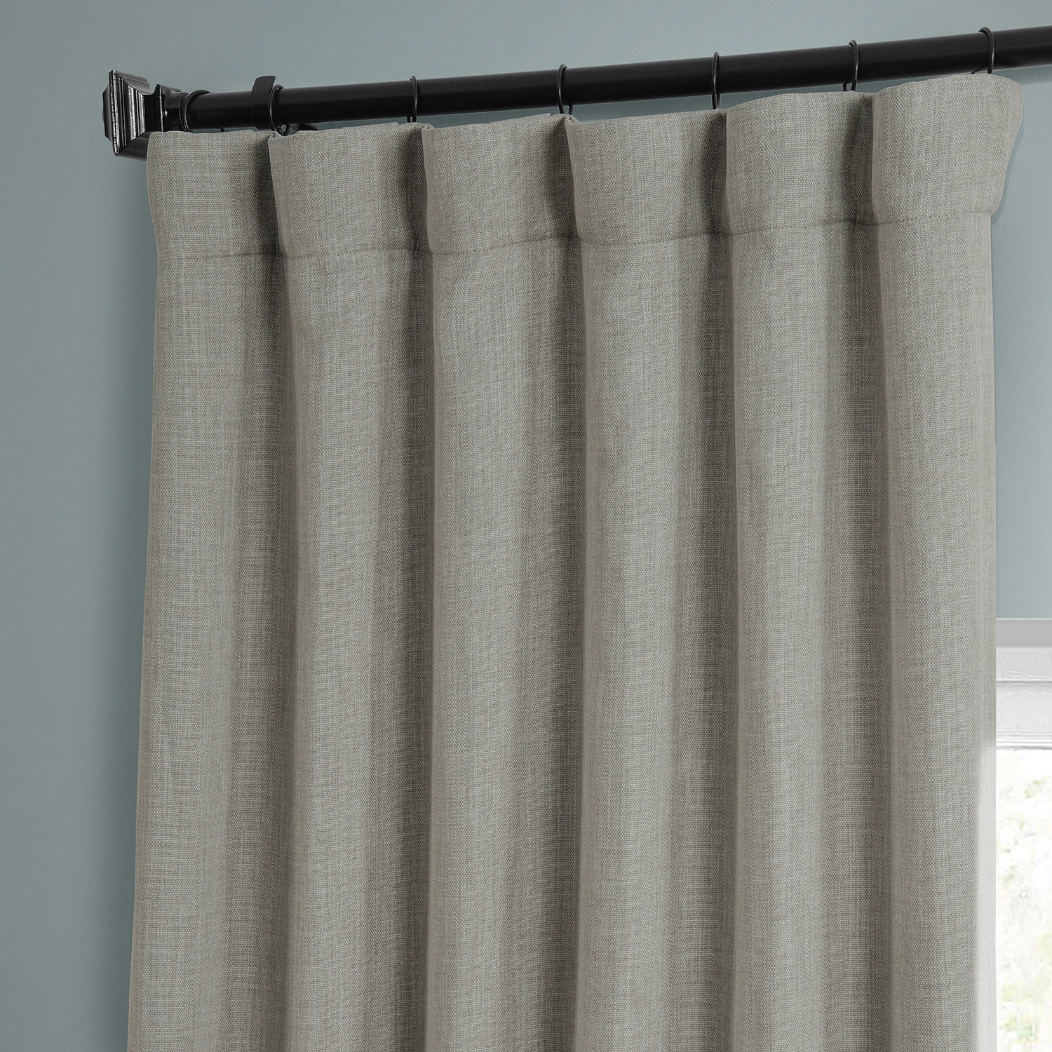 Oatmeal Faux Linen Blackout Room Darkening Curtain