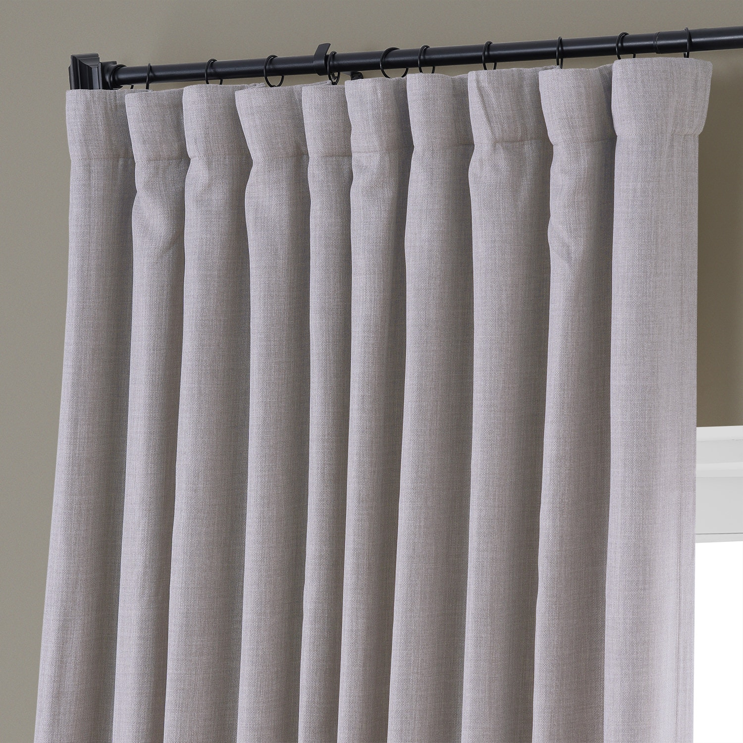 Clay Faux Linen Extra Wide Blackout Room Darkening Curtain