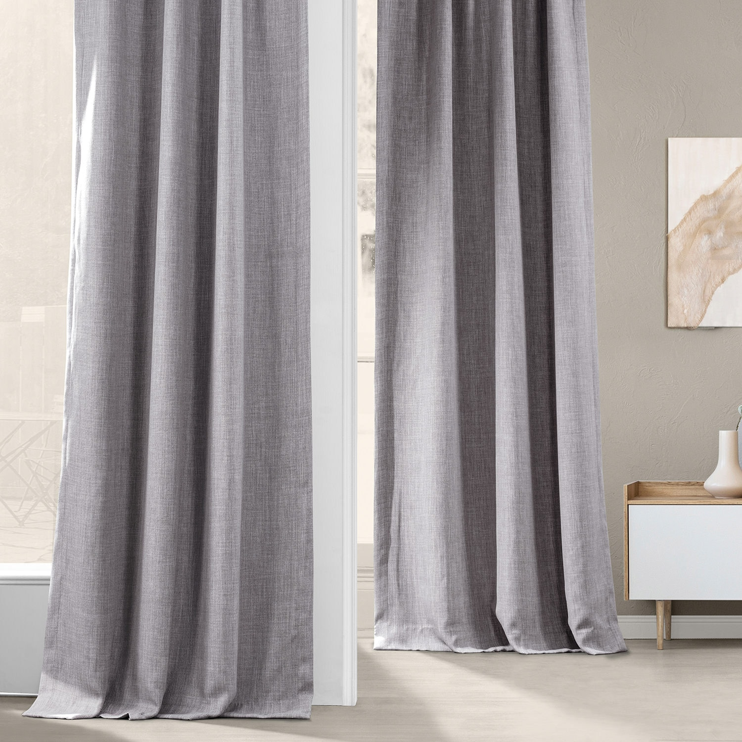 Clay Faux Linen Blackout Room Darkening Curtain