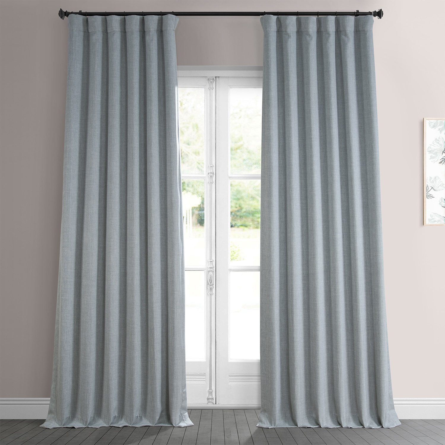 Heather Grey Faux Linen Blackout Room Darkening Curtain